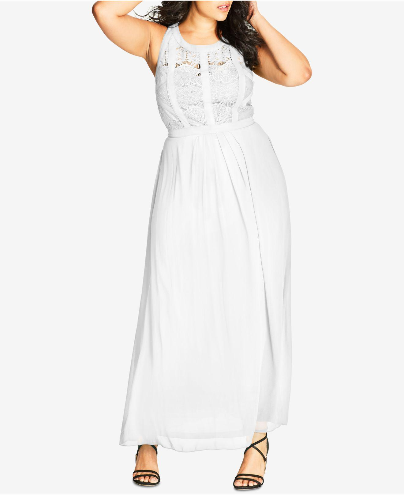 59a41a6dd4f8 City Chic Plus Size Sleeveless Maxi Dress in White - Lyst