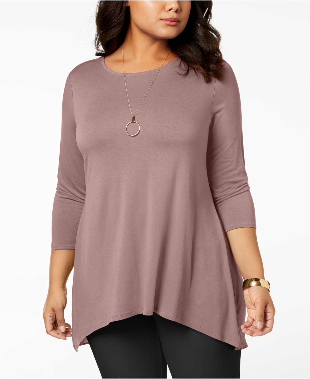 94281eb2ab2 Alfani. Women s Plus Size Woven-back Top ...