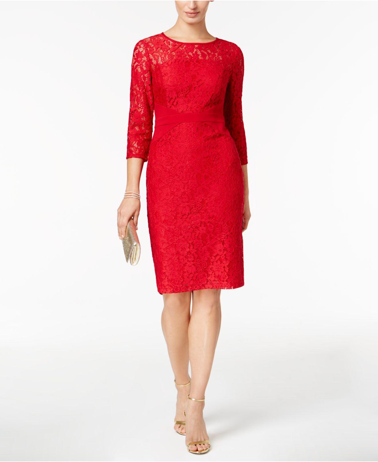 65954174 Lyst - Nine West Lace Sheath Dress in Red