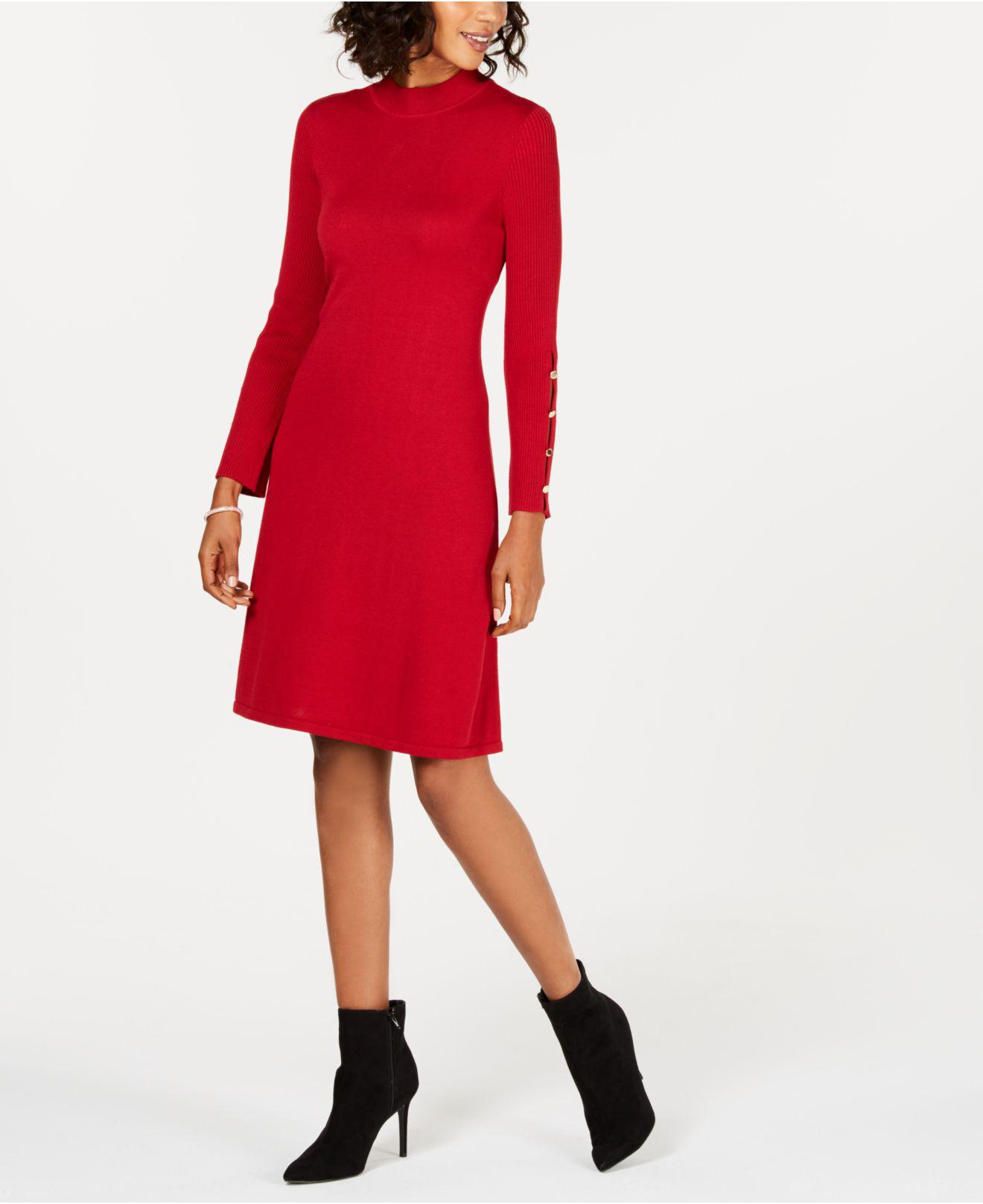 f45c04625c Lyst - Nine West Button-sleeve Sweater Dress in Red