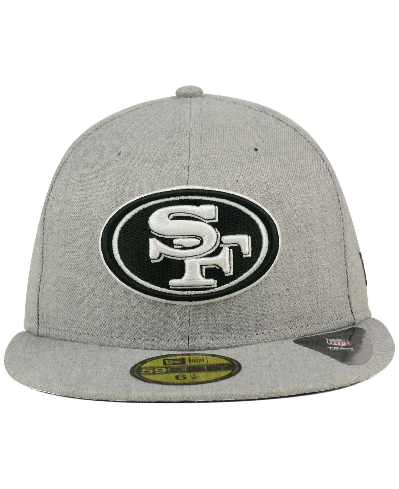best service bdf7e a5881 KTZ San Francisco 49ers Heather Black White 59fifty Cap in Gray for Men -  Lyst