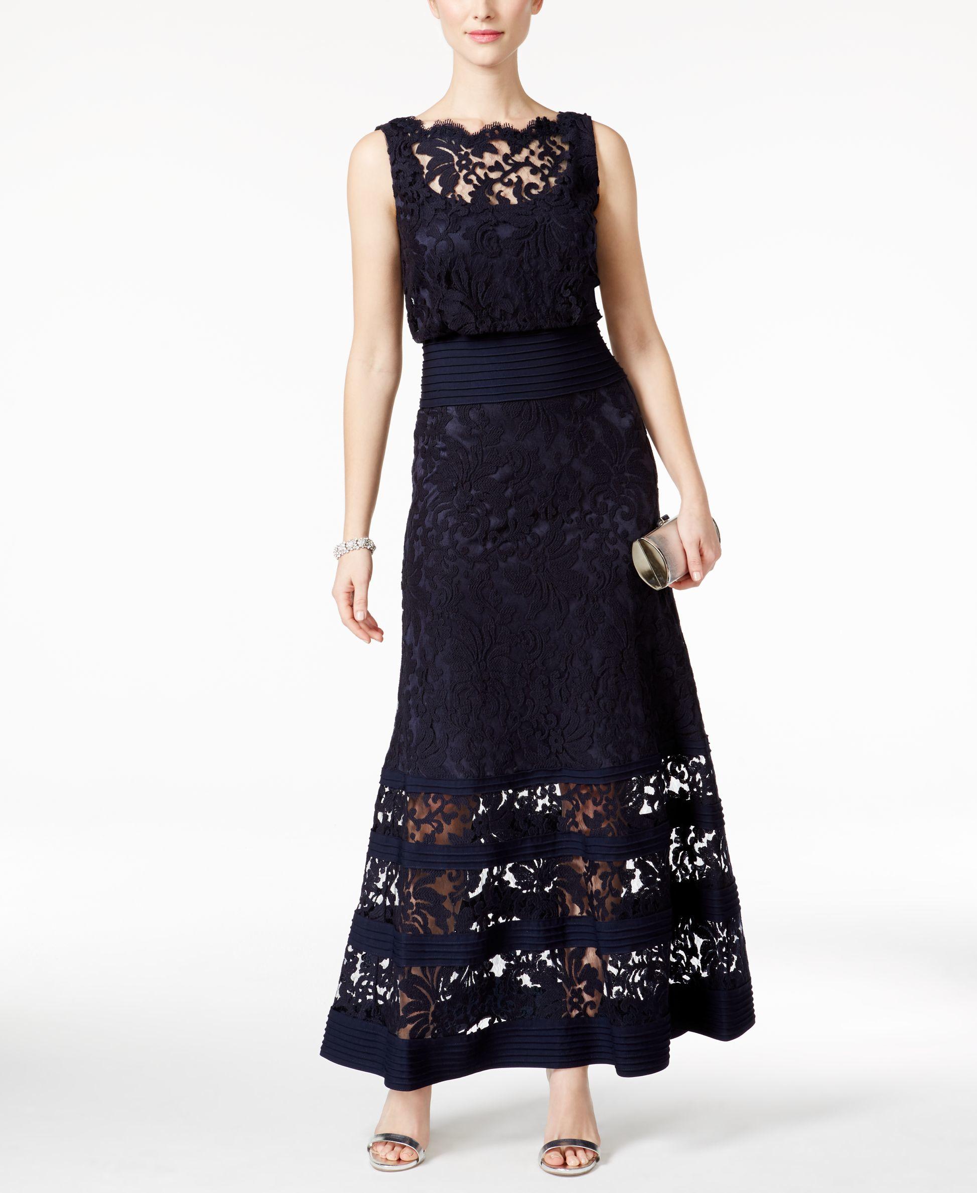 ab265ea4fd31 Lyst - Tadashi Shoji Lace-detail Dress in Blue