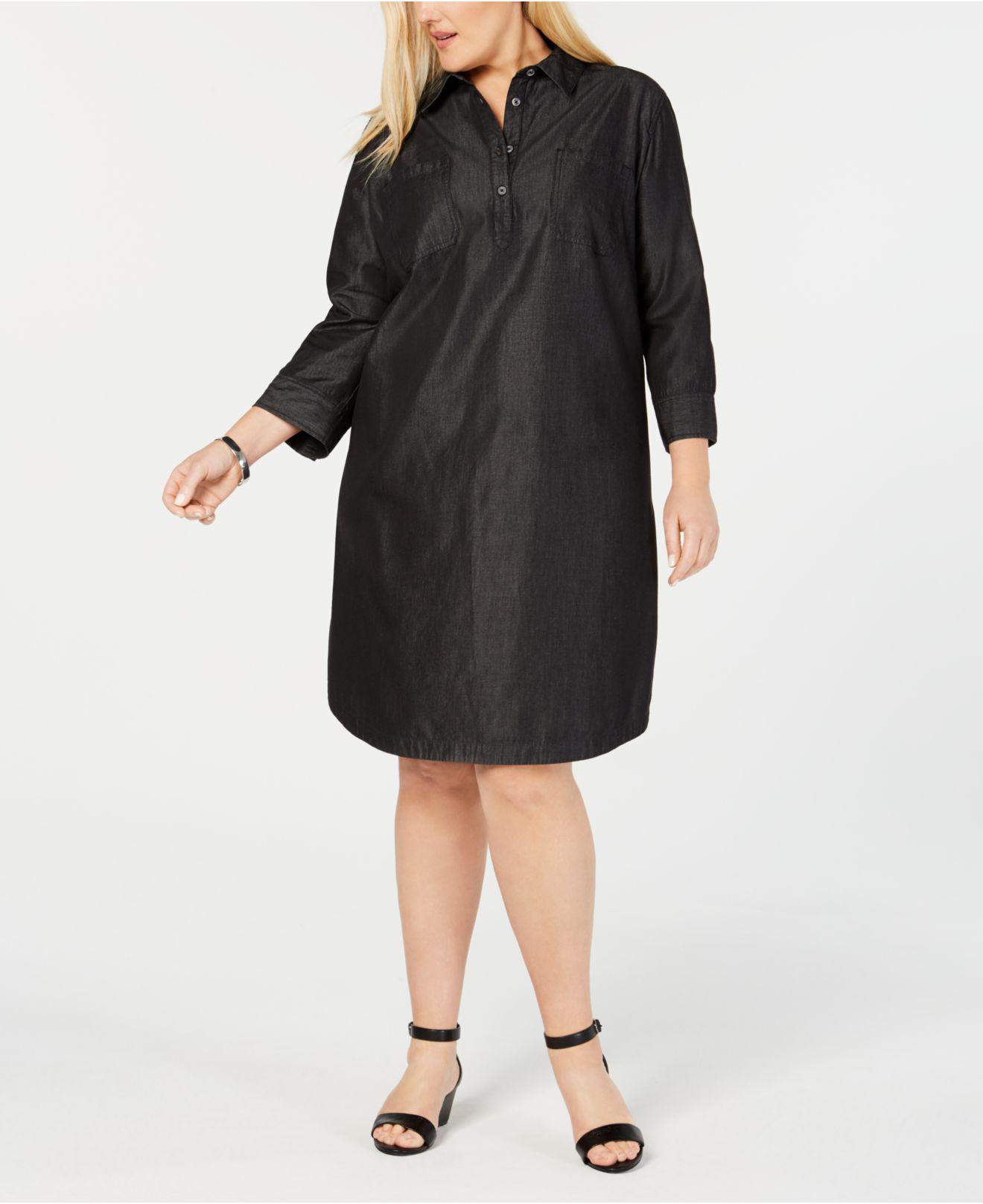 7fe064d673b6a Karen Scott. Women s Black Plus Size Cotton Shirt-dress