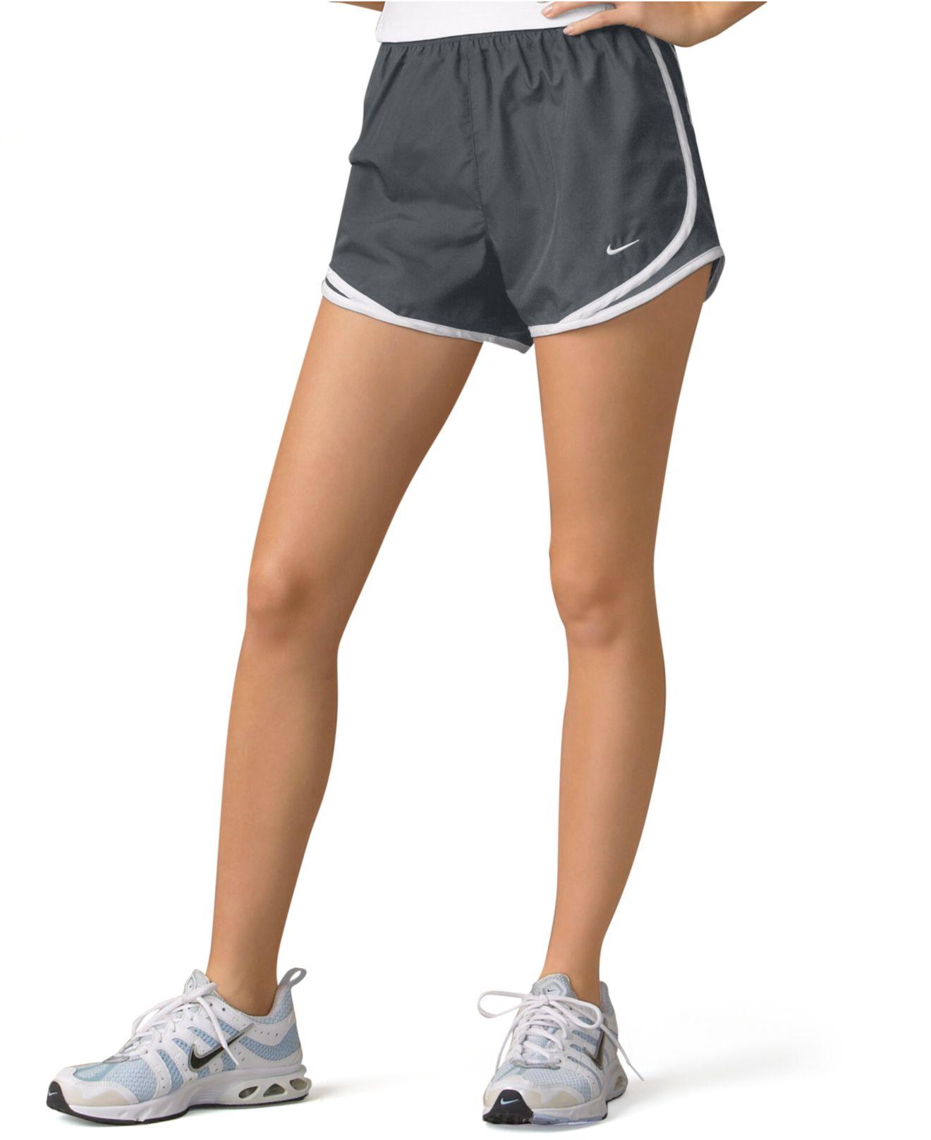Lyst nike dri fit tempo running shorts in gray for Women s running shirt