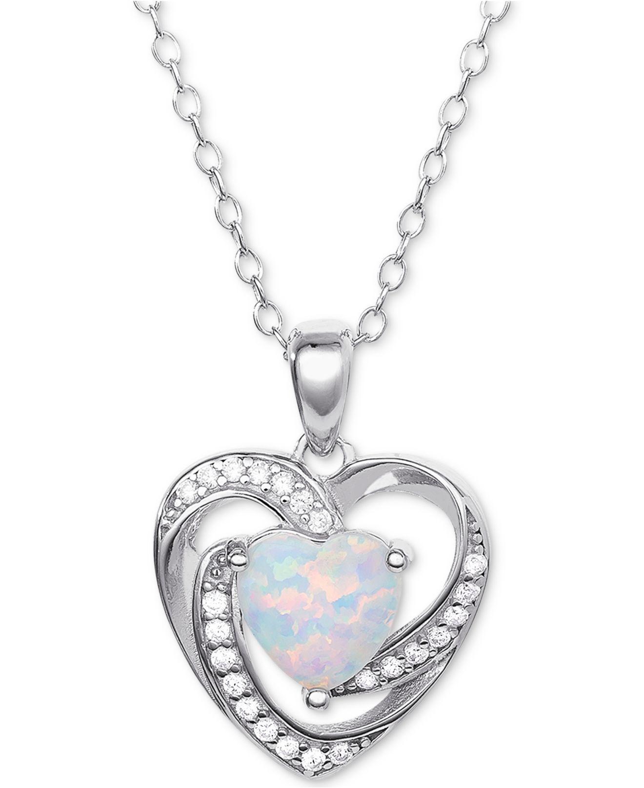 15308821c Giani Bernini. Women's Metallic Imitation Opal & Cubic Zirconia Heart 18