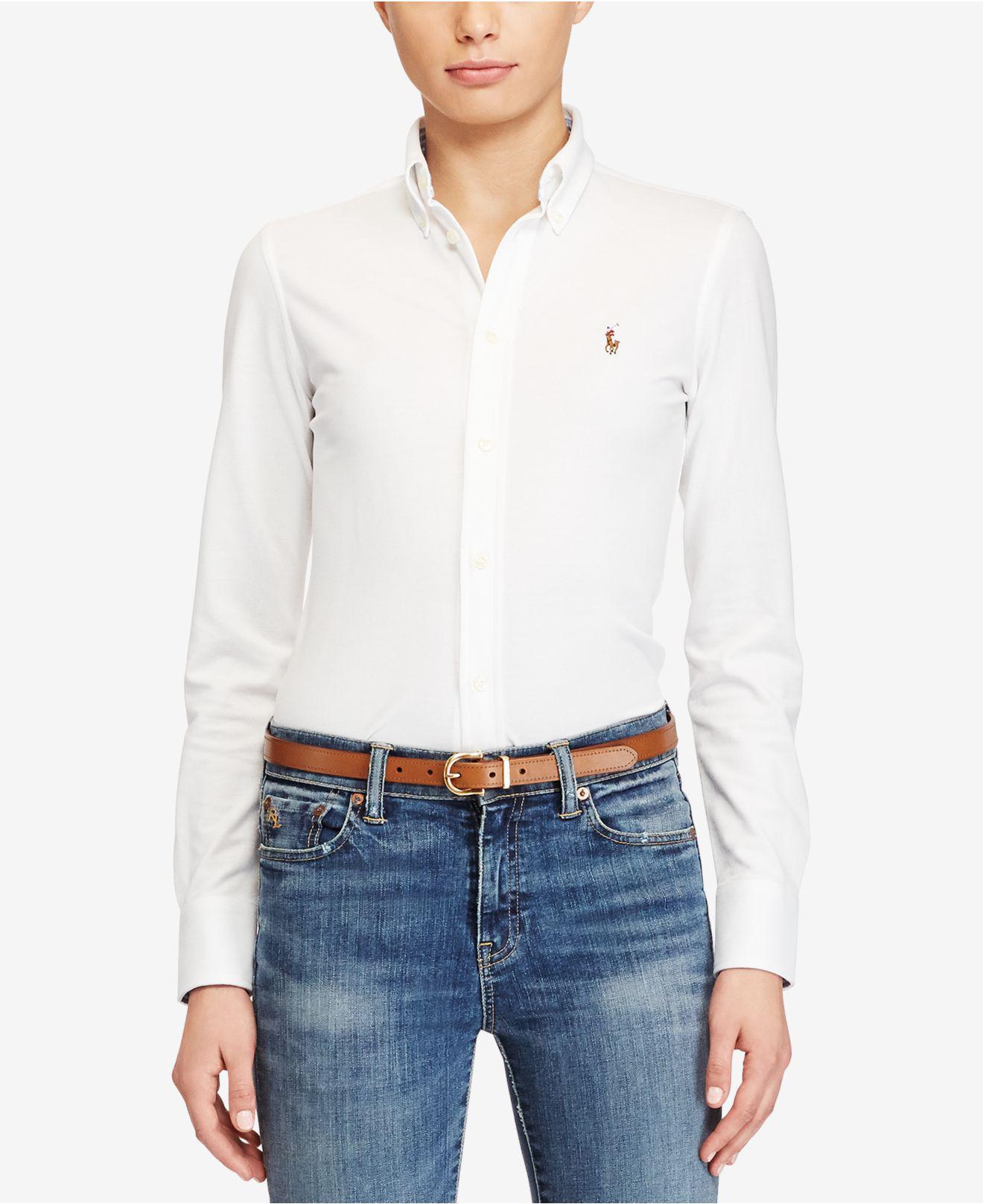 16b46341124a Lyst - Polo Ralph Lauren Long-sleeve Button-front Shirt in White ...