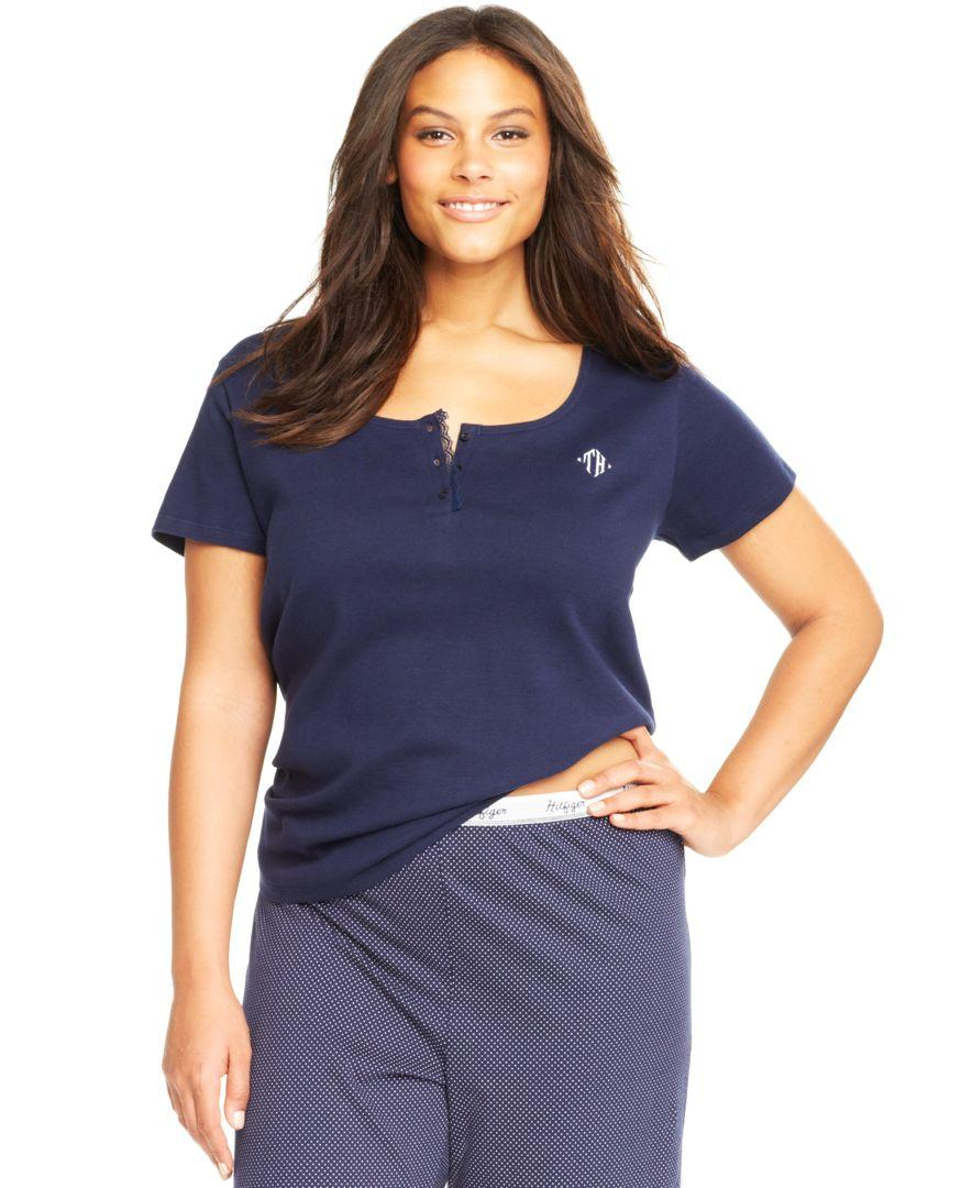 Tommy Hilfiger Plus Size Henley Short Sleeve Top In Blue -5192