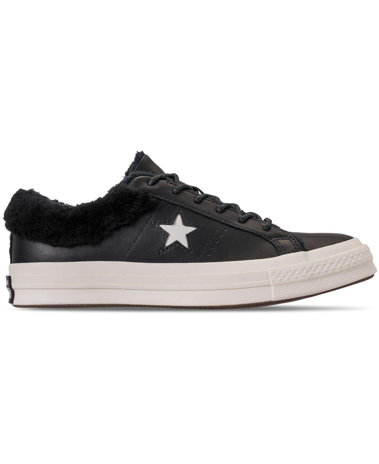 Lyst - Converse One Star Ox Faux Fur Casual Sneakers From Finish Line in  Black 6dc199042