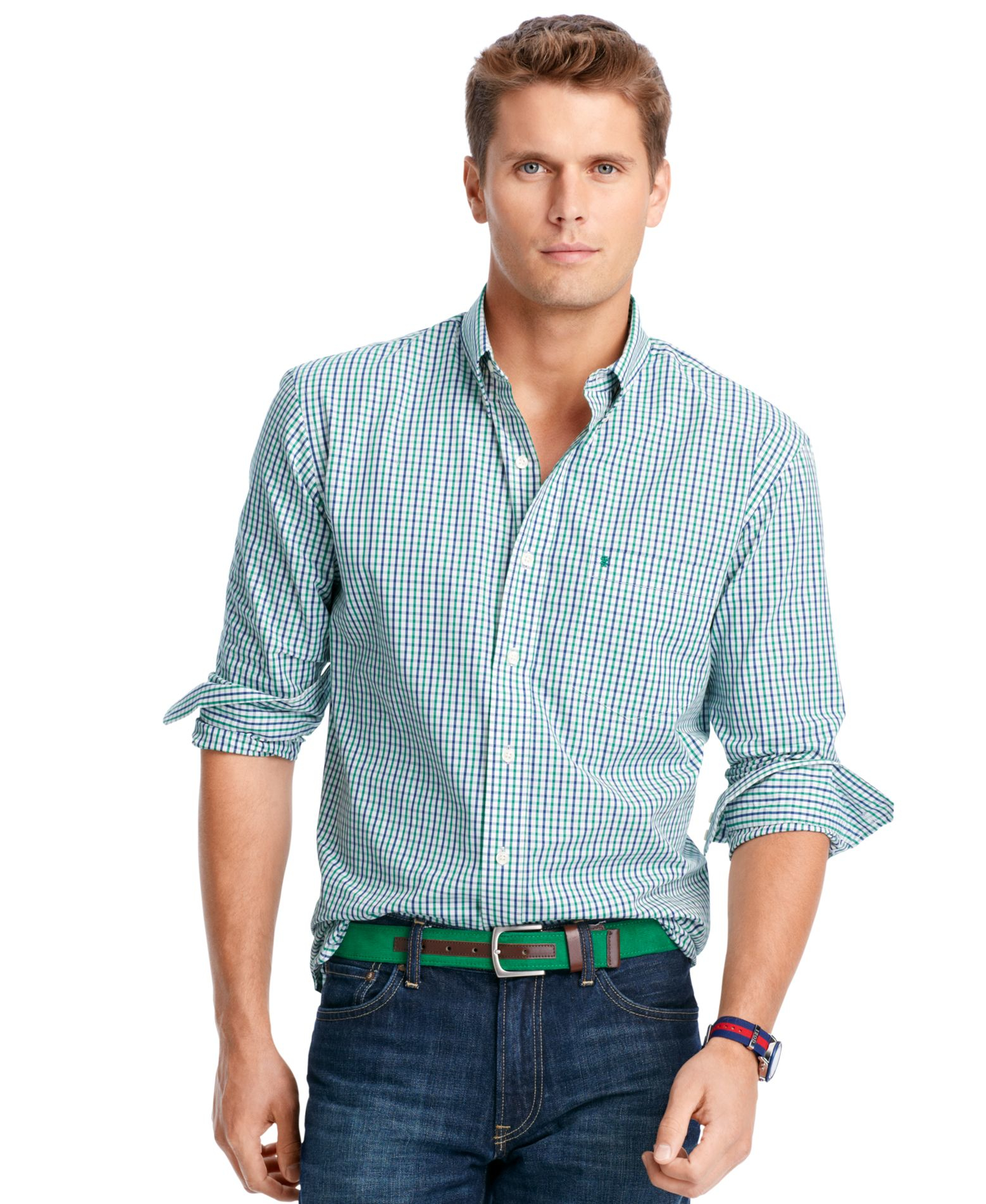 Izod big and tall long sleeve checked shirt in green for for Izod button down shirts