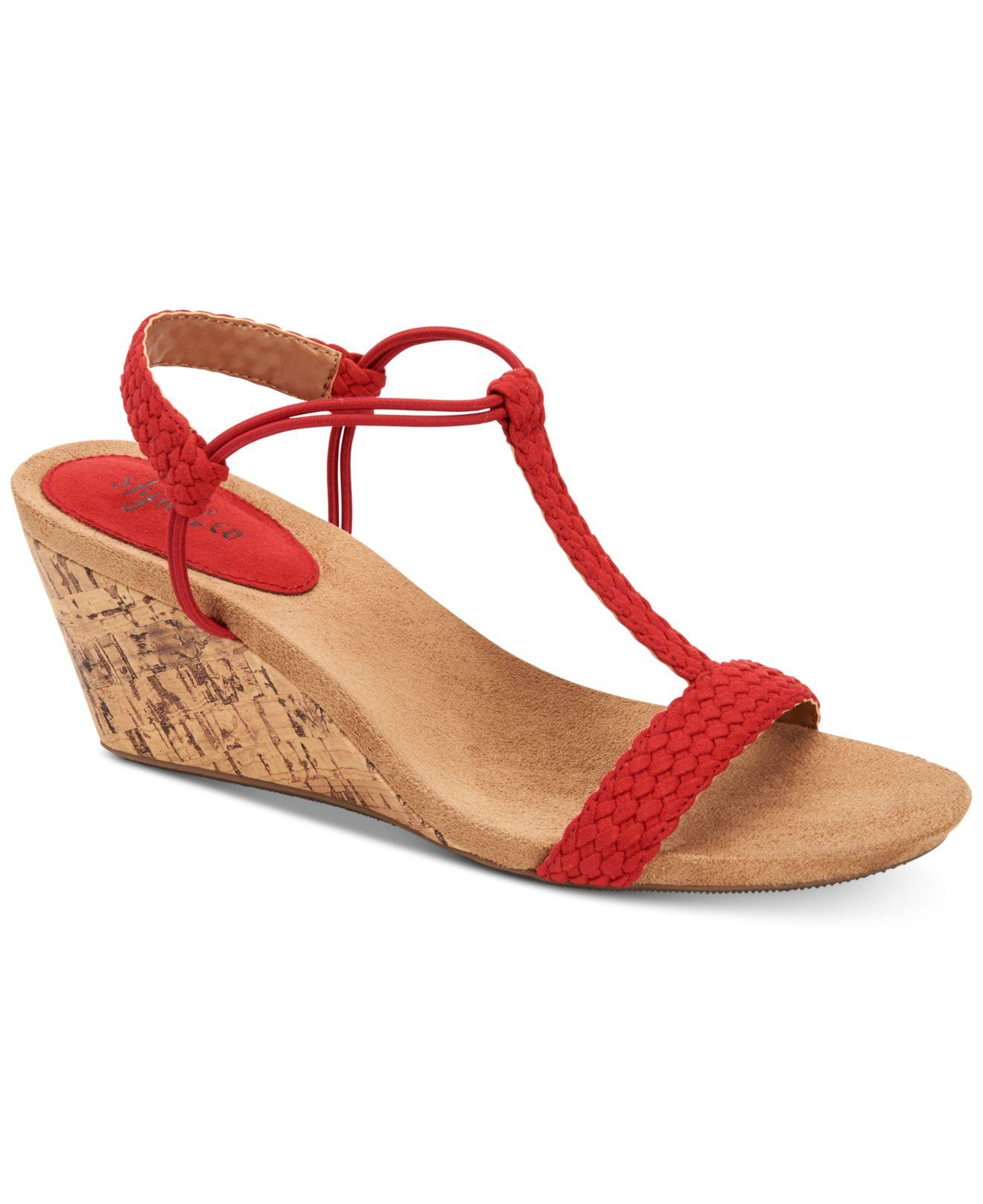 a0e2fb95f1c5 Lyst - Style   Co. Mulan Wedge Sandals in Red - Save 59%