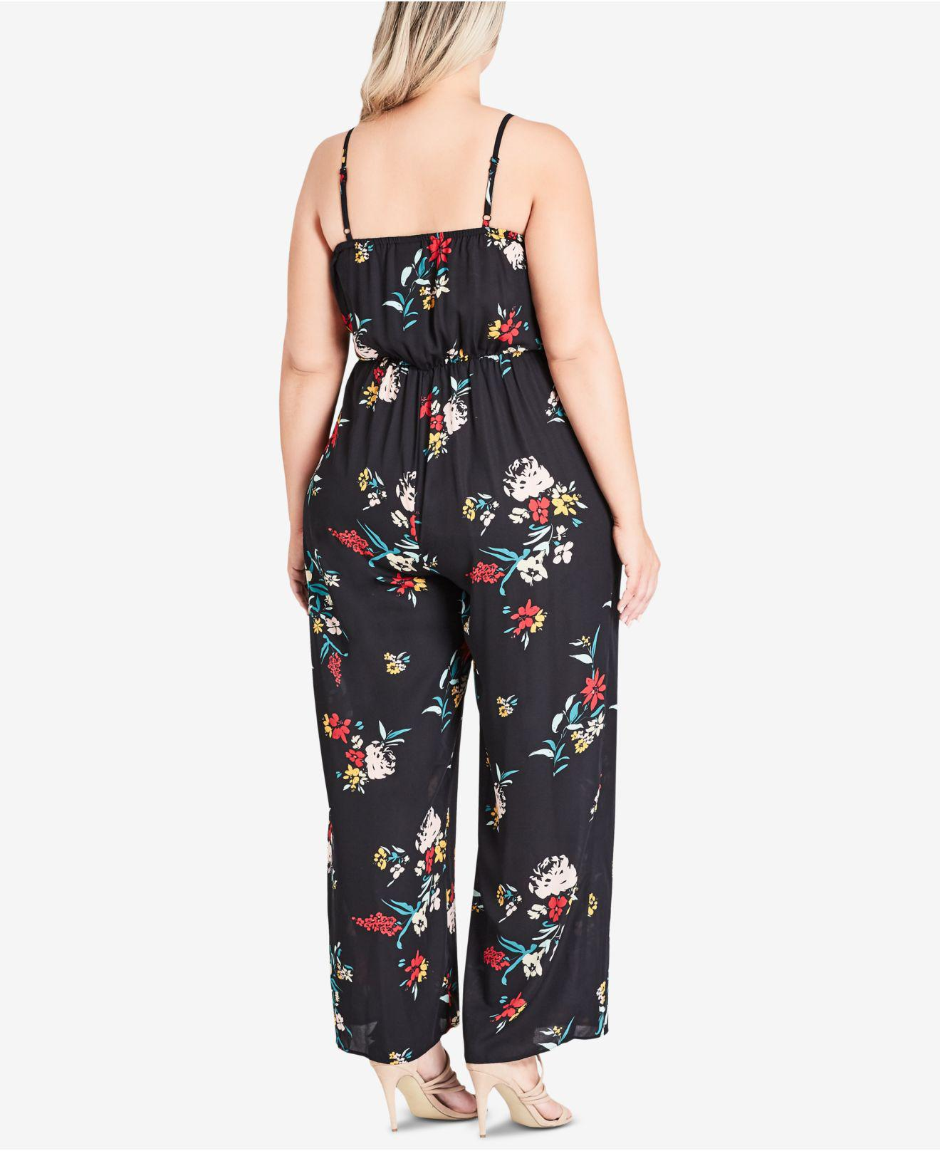 9a45bd25fd4 Lyst - City Chic Trendy Plus Size Flowerette Printed Jumpsuit in Black -  Save 50%