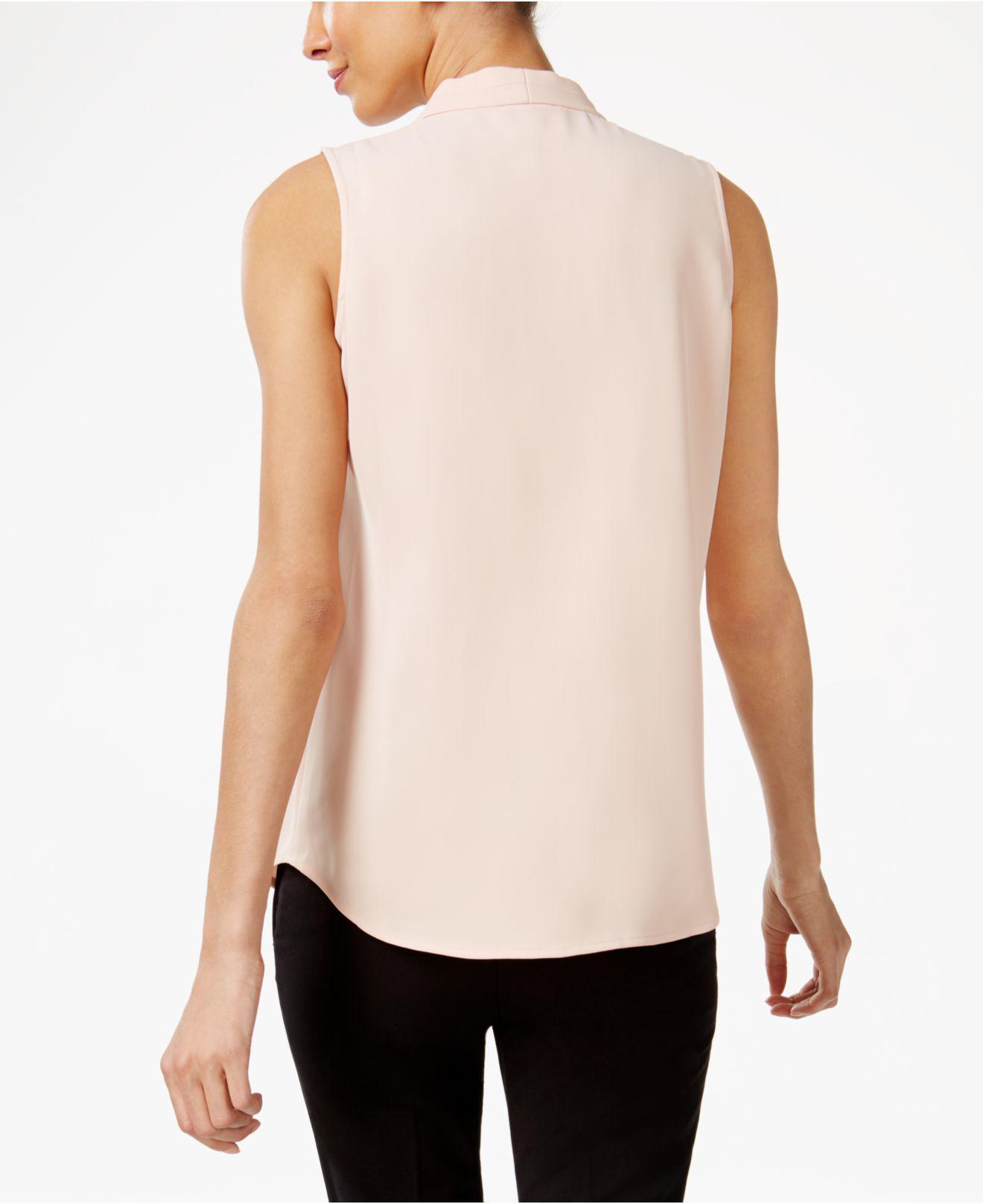 5c50ec36ad8726 Lyst - Calvin Klein Pleated V-neck Shell