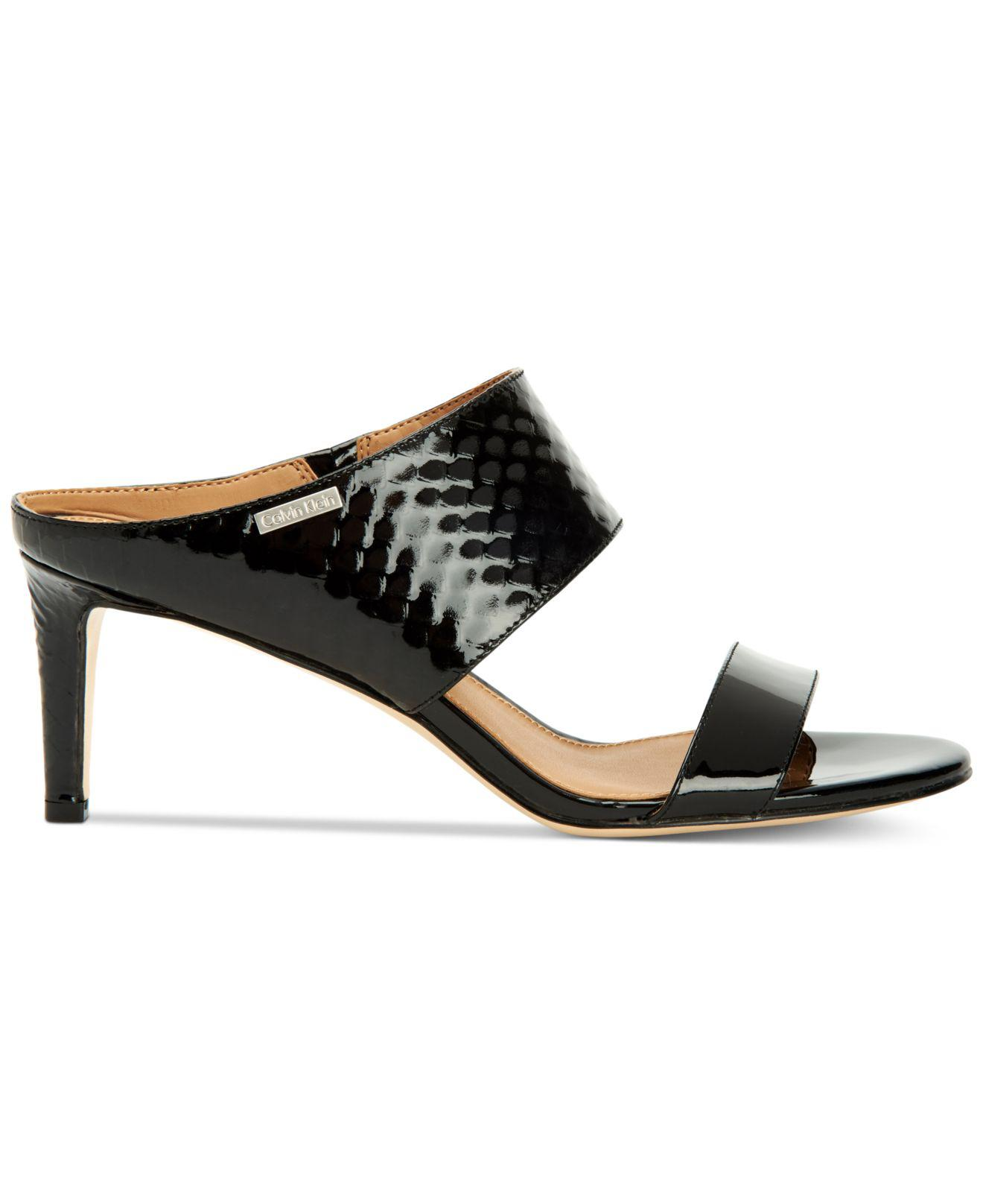 ae0e6ec955c Lyst - Calvin Klein Women s Cecily Wide-strap Sandals in Black - Save 51%