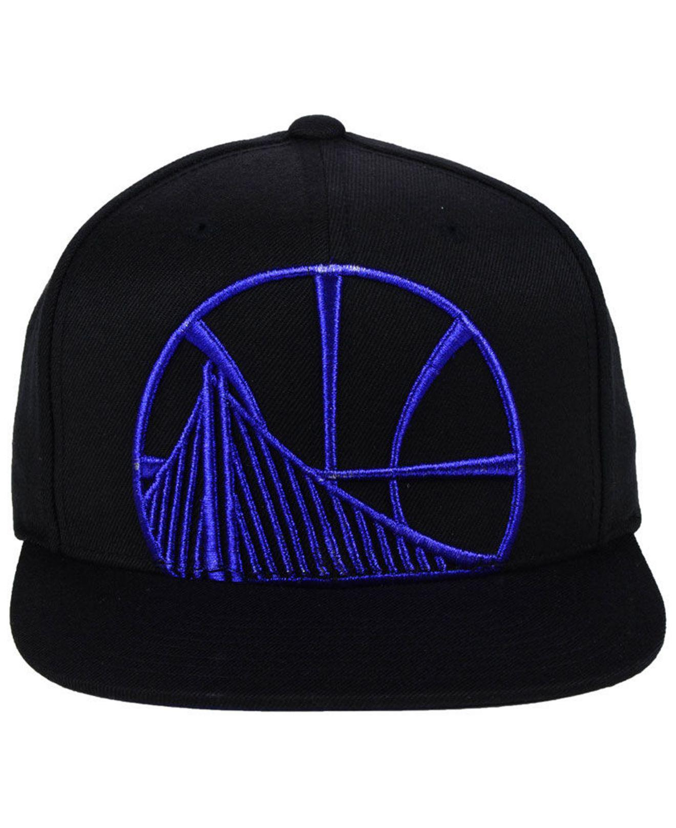 buy popular 14daf 970d4 ... greece lyst mitchell ness golden state warriors metallic cropped snapback  cap in black for men 5d2c3