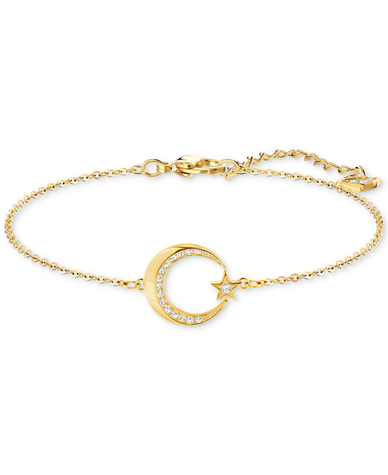 Gold Tone Pavé Crescent Moon Star Link Bracelet