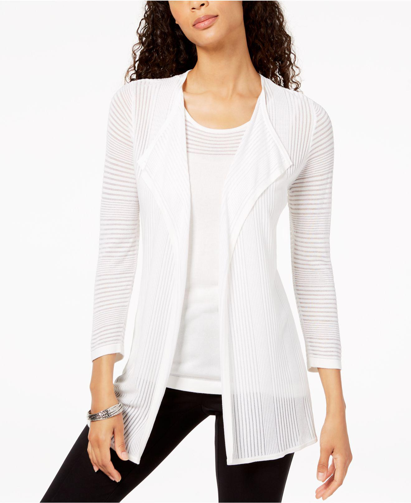 8a8c0f04fd Lyst - Kasper Shadow-striped Open-front Cardigan in White