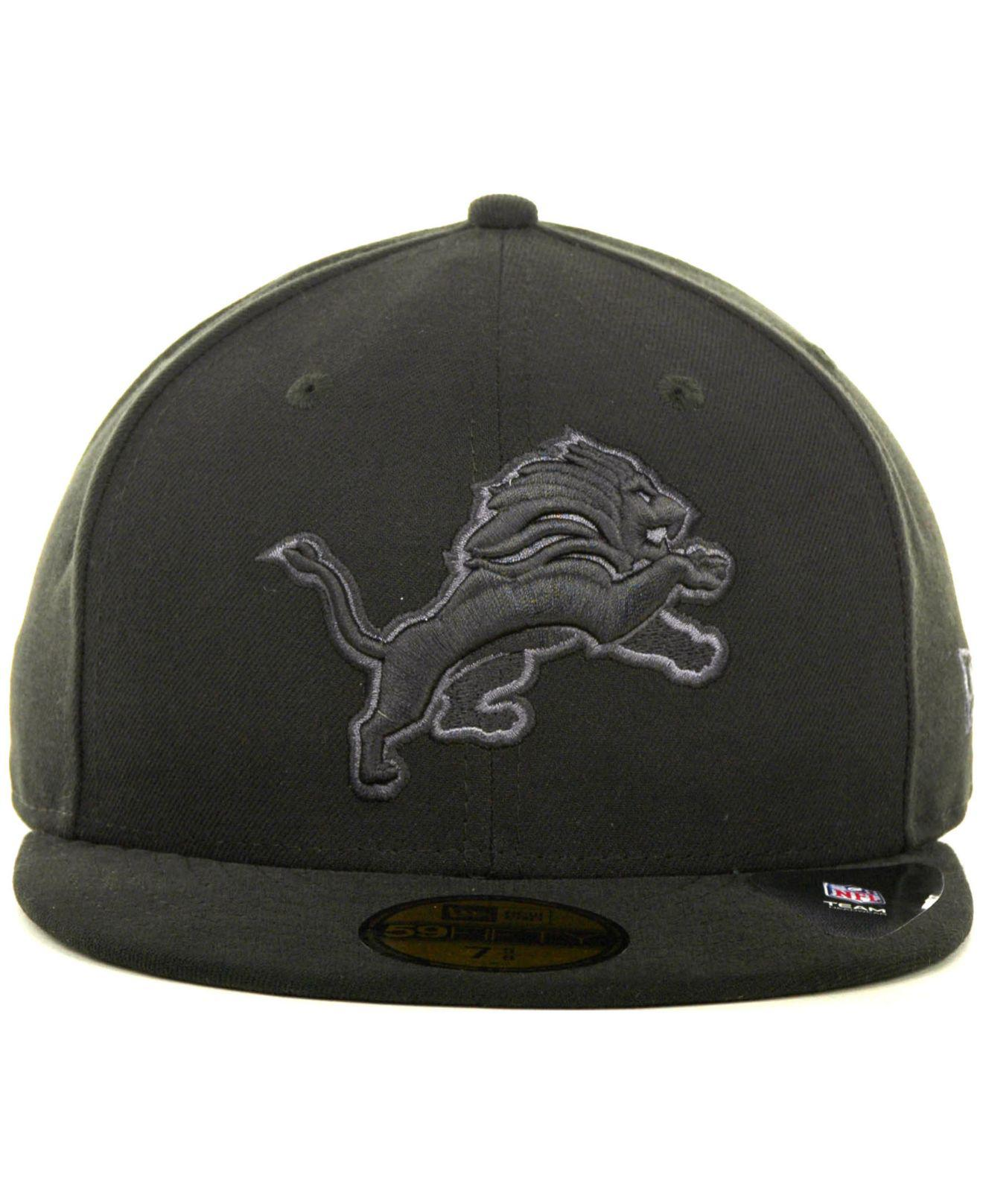 big sale c8446 73460 Lyst - KTZ Detroit Lions Black Gray 59fifty Hat in Black for Men
