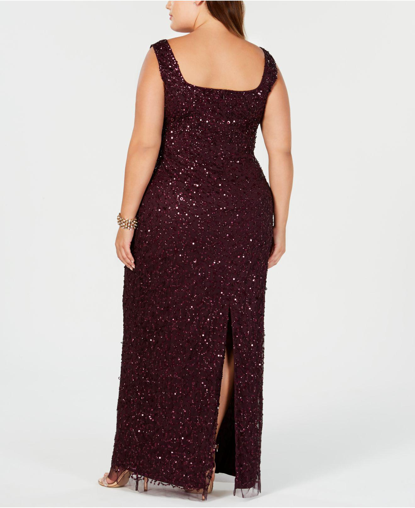 e83b6d41c5019 Lyst - Adrianna Papell Plus Size Beaded Long Gown in Purple