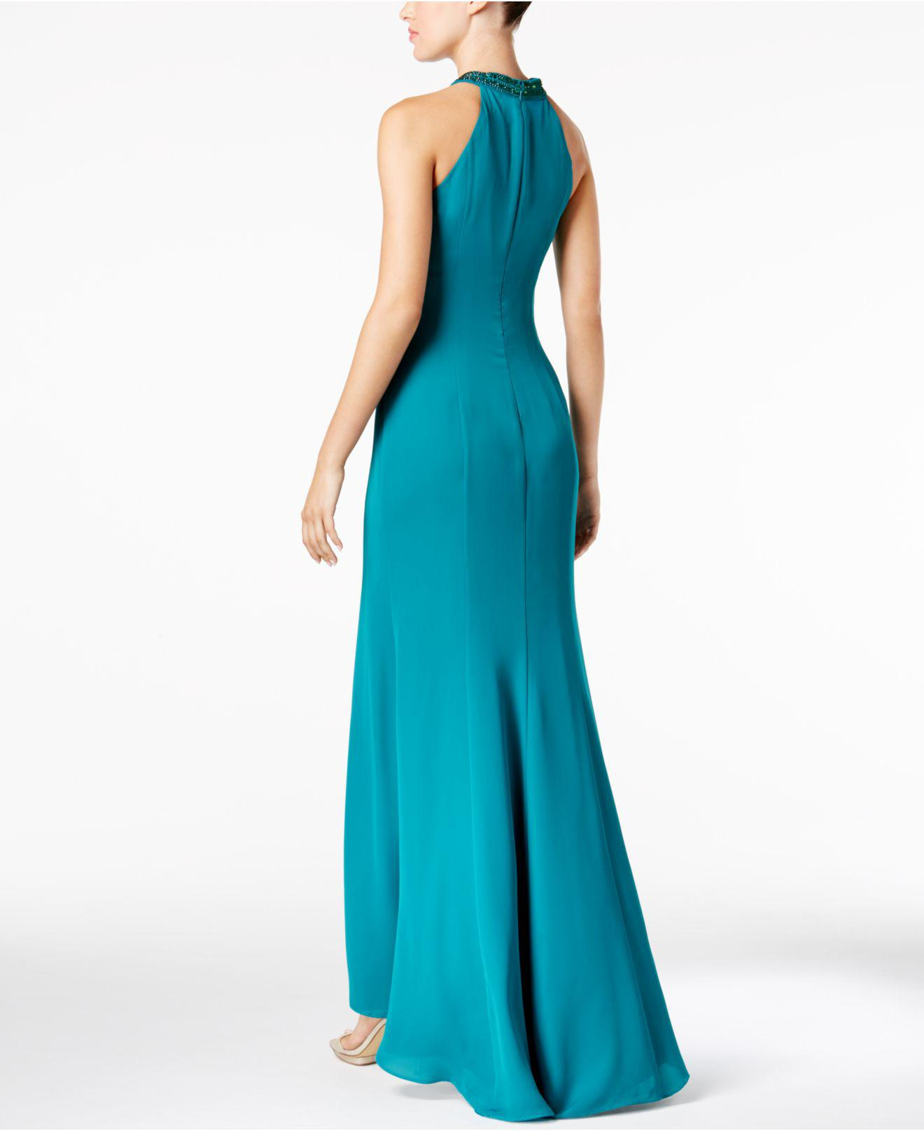 Lyst Calvin Klein 205w39nyc Draped Chiffon Halter Gown In Black