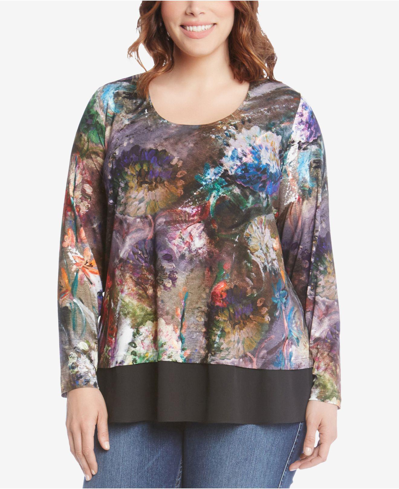 7582a98fcb0 Lyst - Karen Kane Plus Size Printed Contrast-hem Top - Save 61%