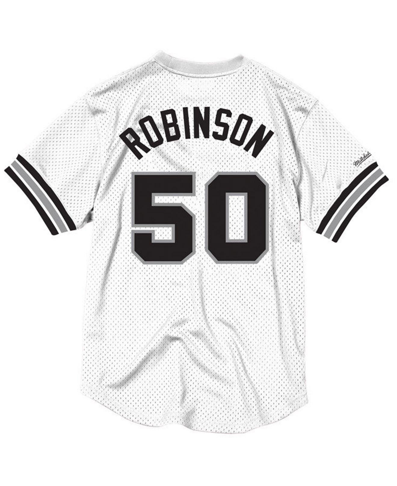 51f295e43871b Mitchell   Ness. Men s White David Robinson San Antonio Spurs Name And  Number Mesh Crewneck Jersey