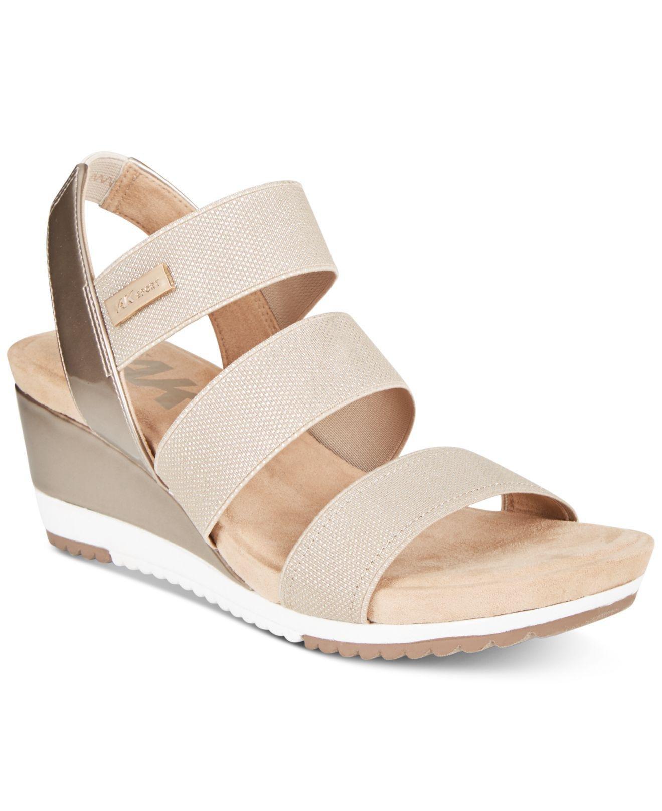 813dc8255ed Lyst - Anne Klein Summertime Wedge Sandals in Natural