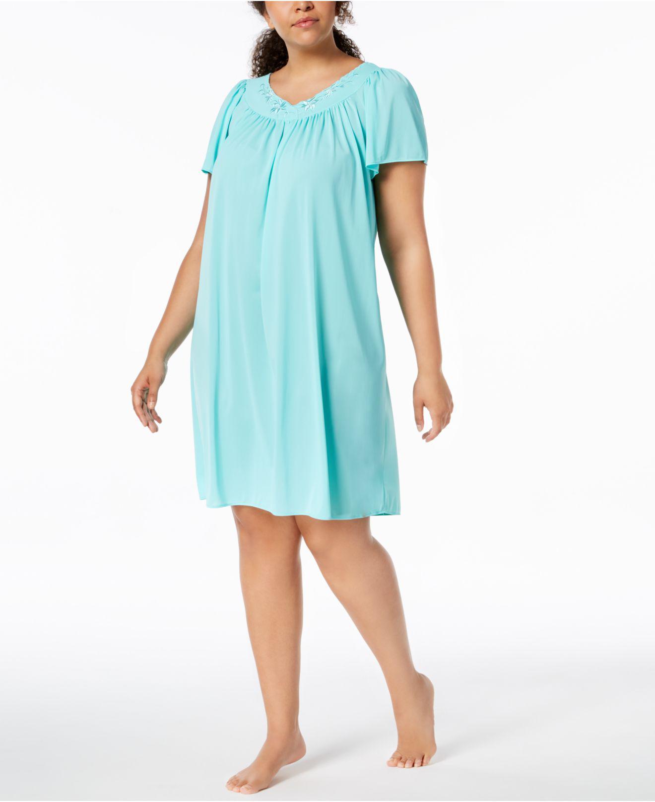 Lyst - Miss Elaine Plus Size Tricot Flutter Sleeve Short Gown in Blue d1e6774c9