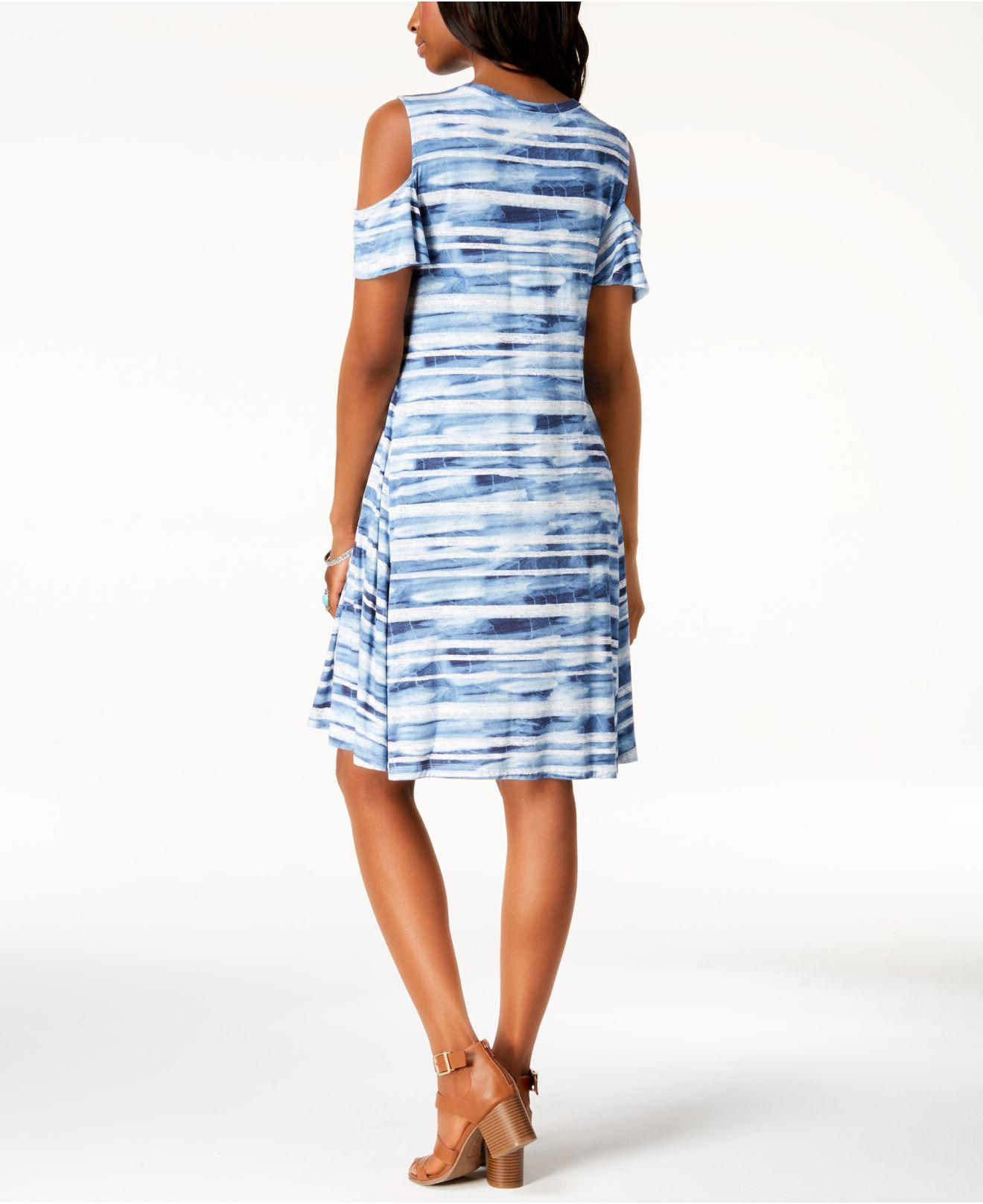 f121e229ae28 Style & Co. Printed Cold-shoulder Dress, Created For Macy's in Blue ...