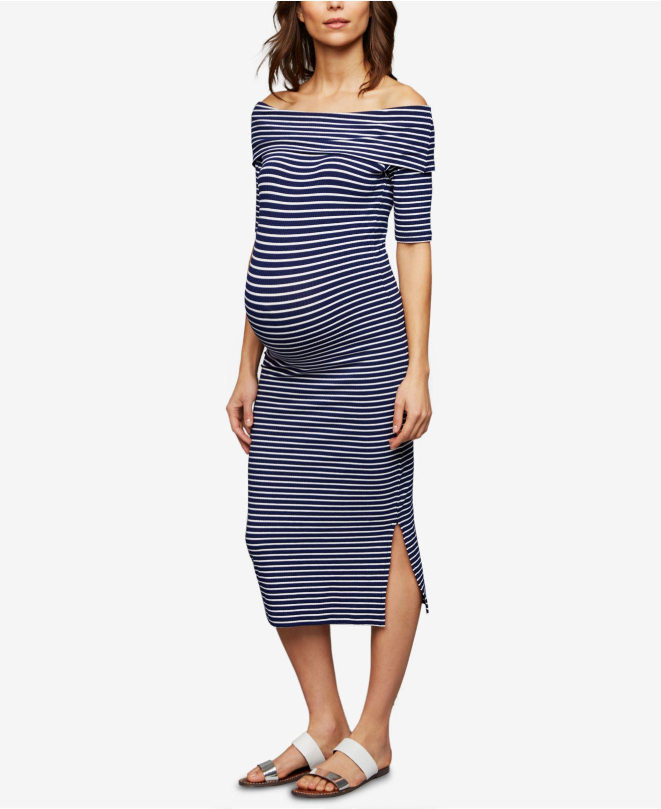 6301bc13a24 Lyst - Isabella Oliver Maternity Off-the-shoulder Dress in Blue