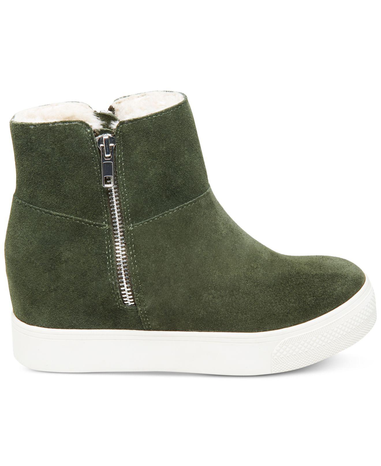 09319742489 Steve Madden Green Wanda Faux-fur Wedge Sneakers