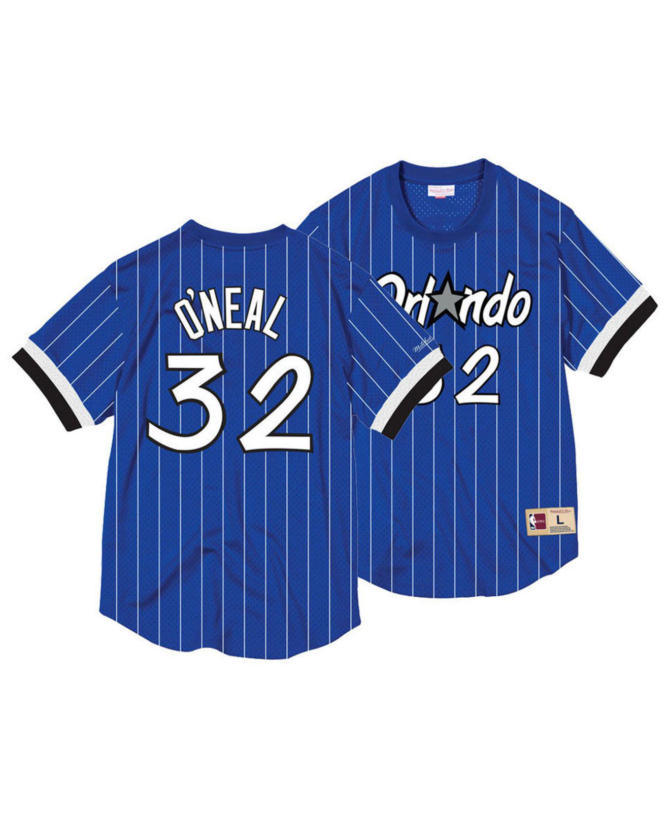 5effc3cd927 Mitchell   Ness. Men s Blue Shaquille O neal Orlando Magicname And Number  Mesh Crewneck Jersey