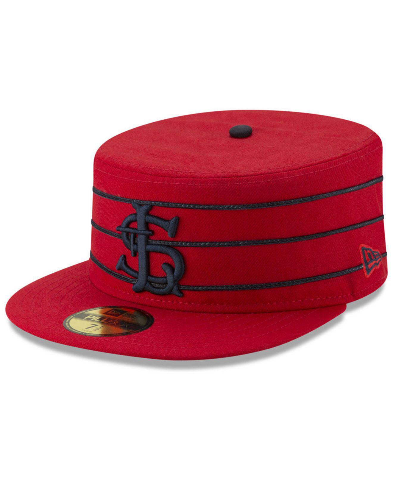 cheap for discount 304dd ef3bf ... netherlands ktz red st. louis cardinals pillbox 59fifty fitted cap for men  lyst 68ea7 53d8c