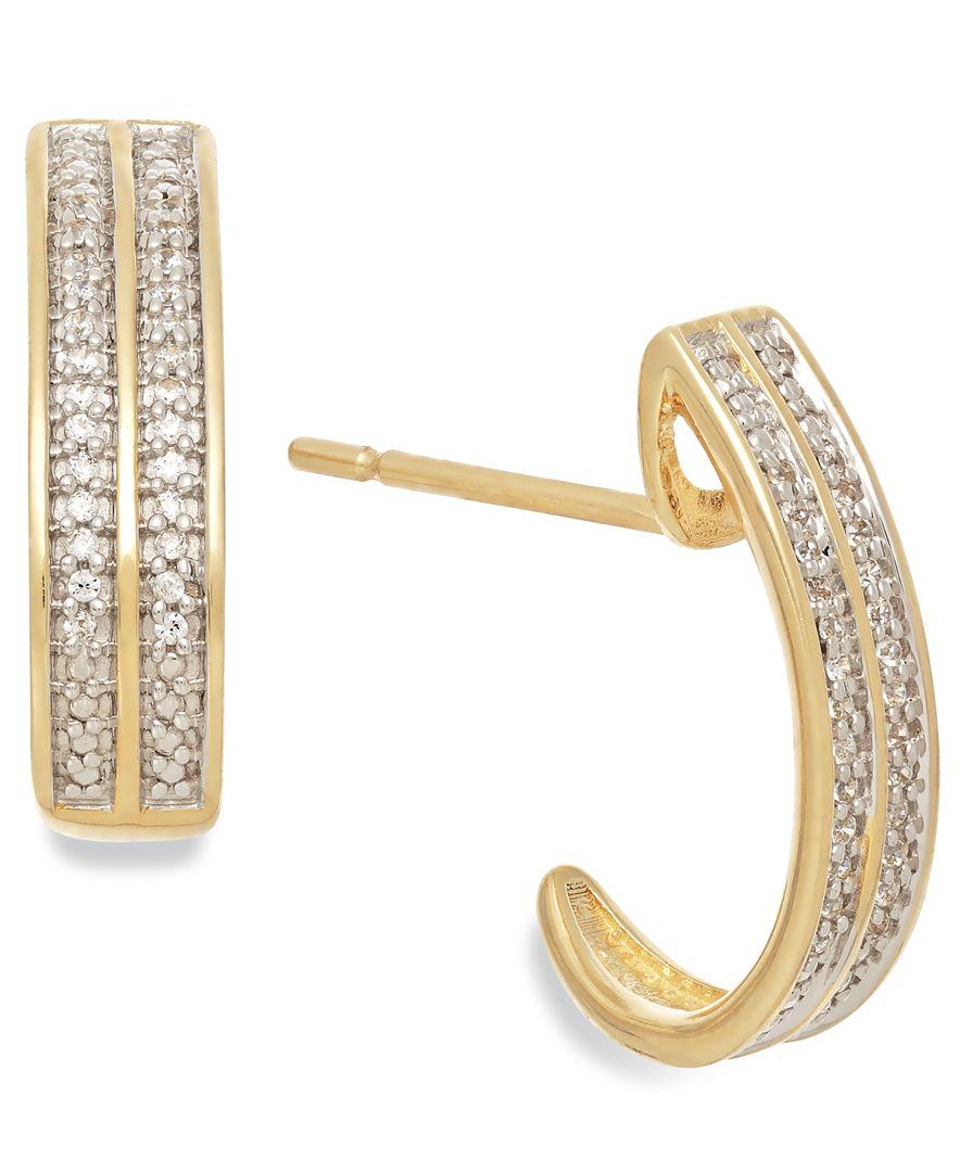 Macy s Diamond 1 10 Ct T w Two row C hoop Earrings In 10k Gold in Met