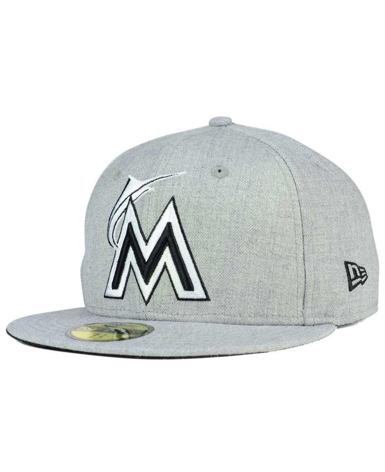hot sale online d3ddc 1a981 ... promo code for ktz. mens gray miami marlins heather black white 59fifty  fitted cap 3fd7e