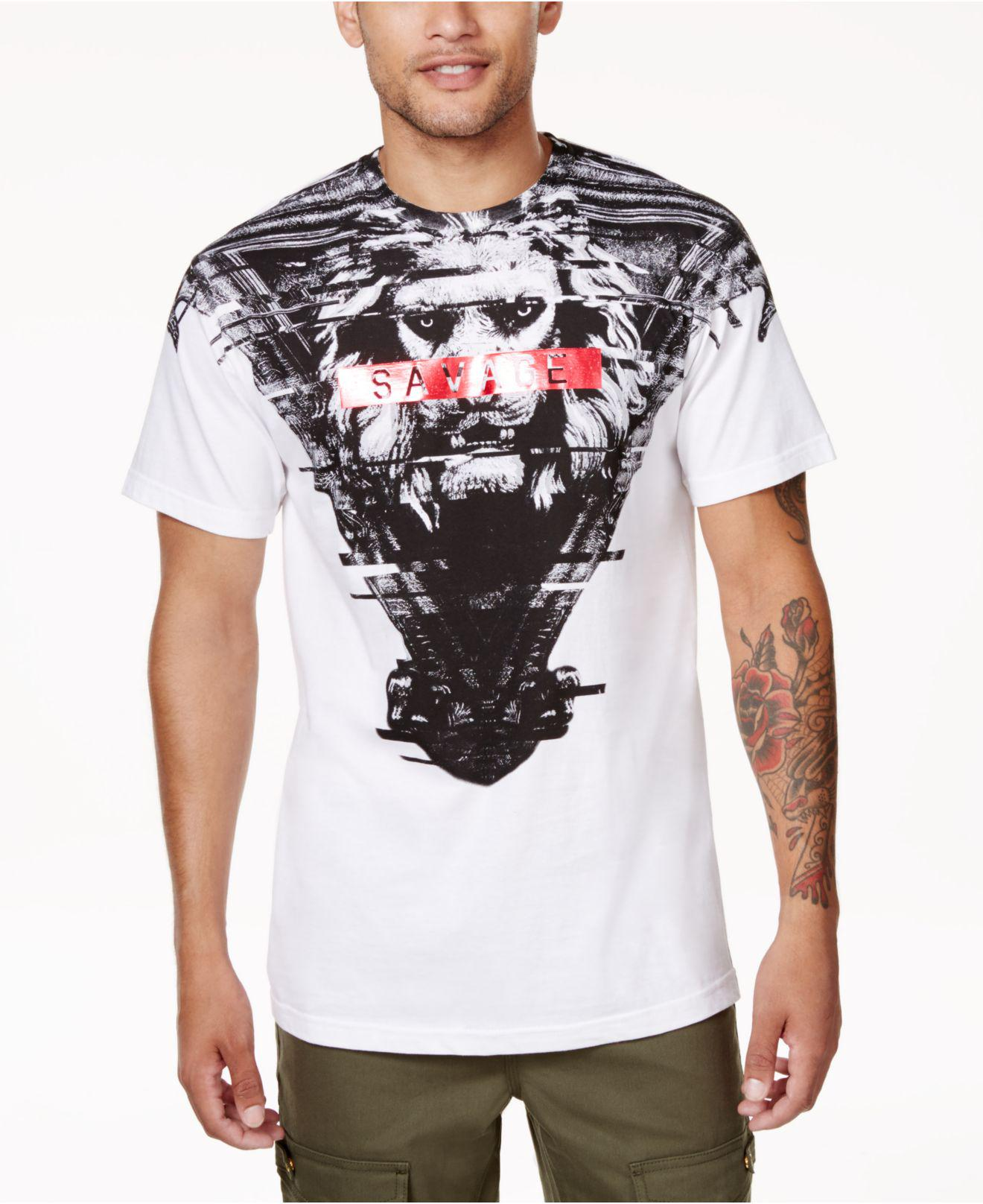Lyst sean john men 39 s savage lion graphic print t shirt for Sean john t shirts for mens