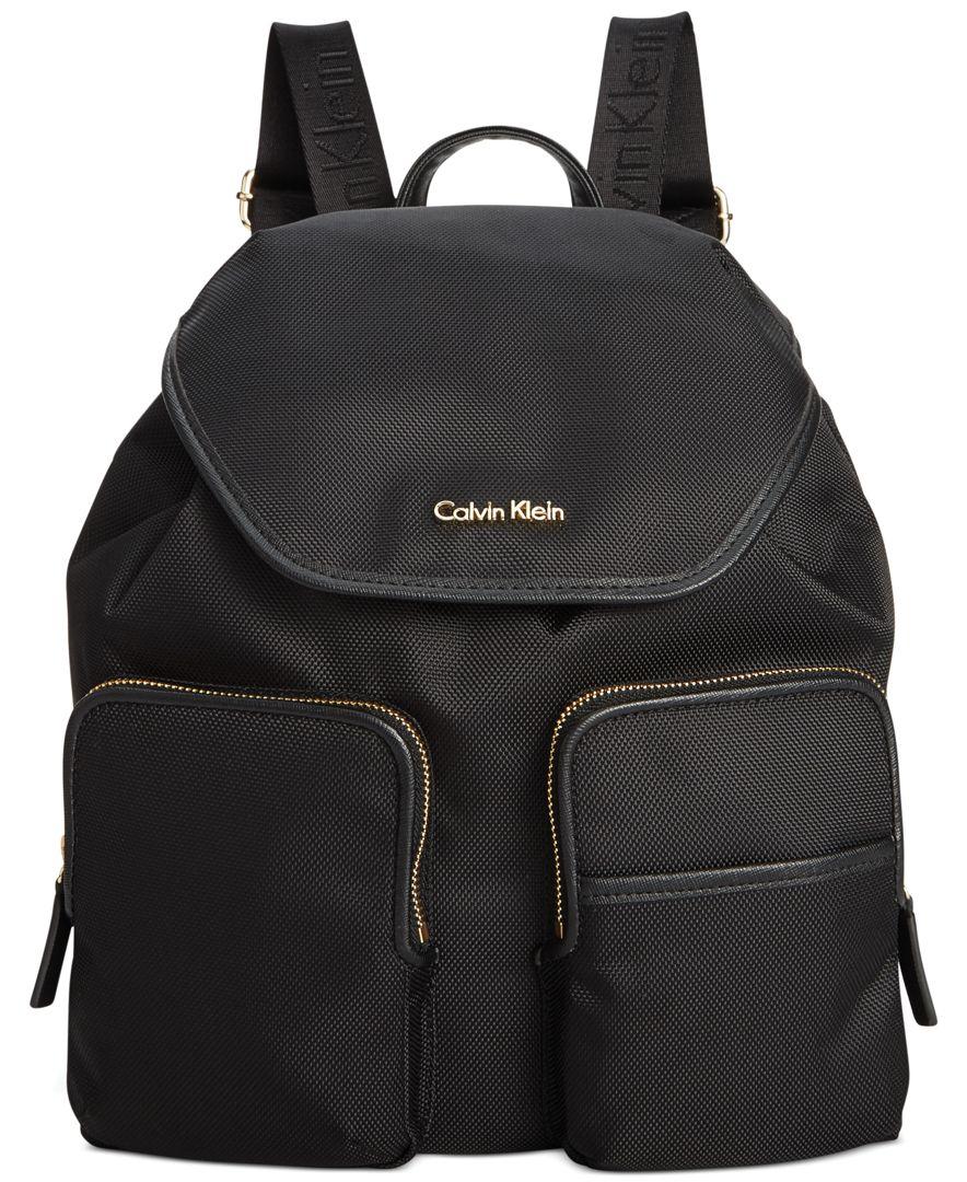 calvin klein parker ballistic nylon backpack in black lyst. Black Bedroom Furniture Sets. Home Design Ideas