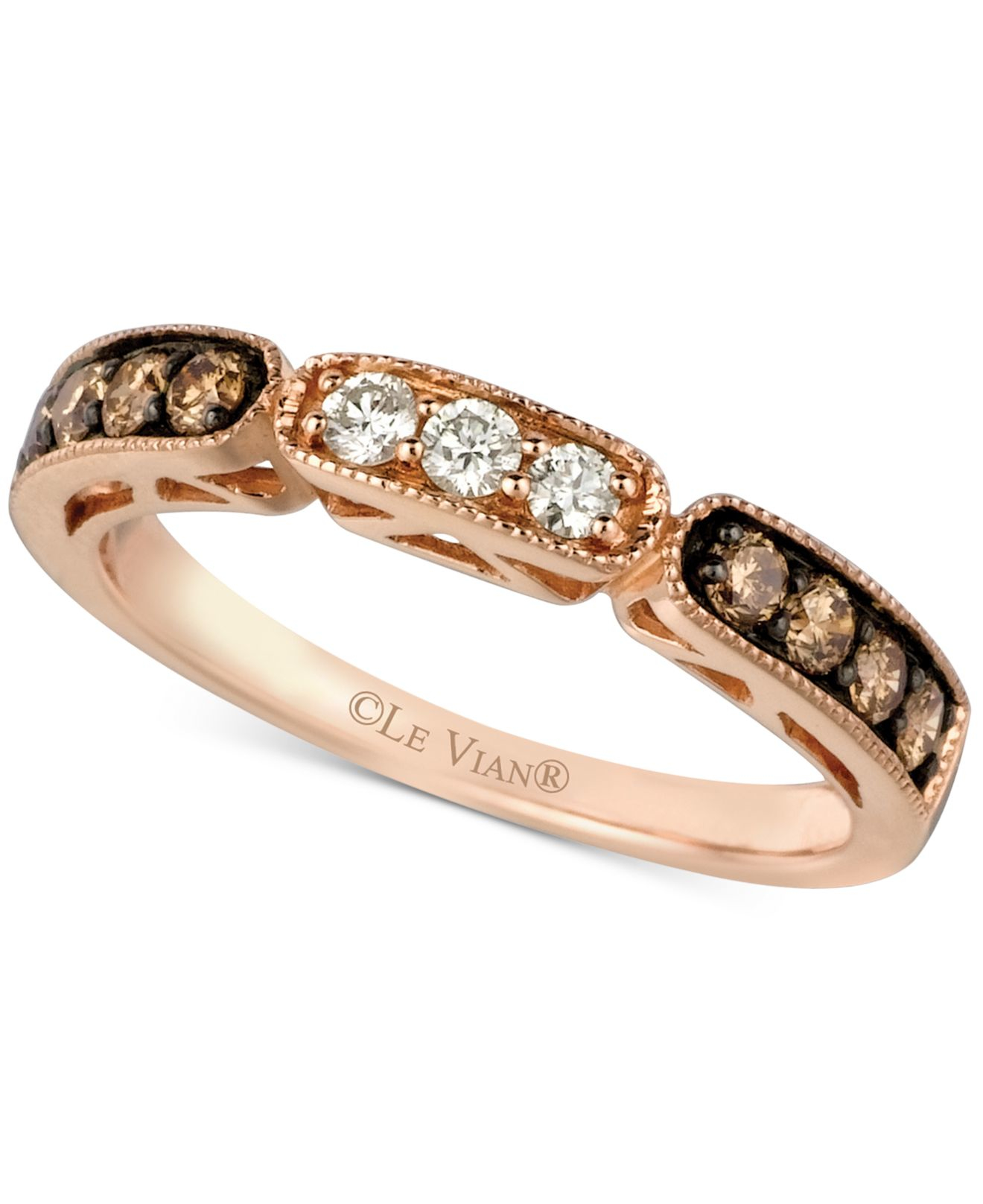 Le vian Chocolate And White Diamond Band In 14k Rose Gold 3 8 Ct