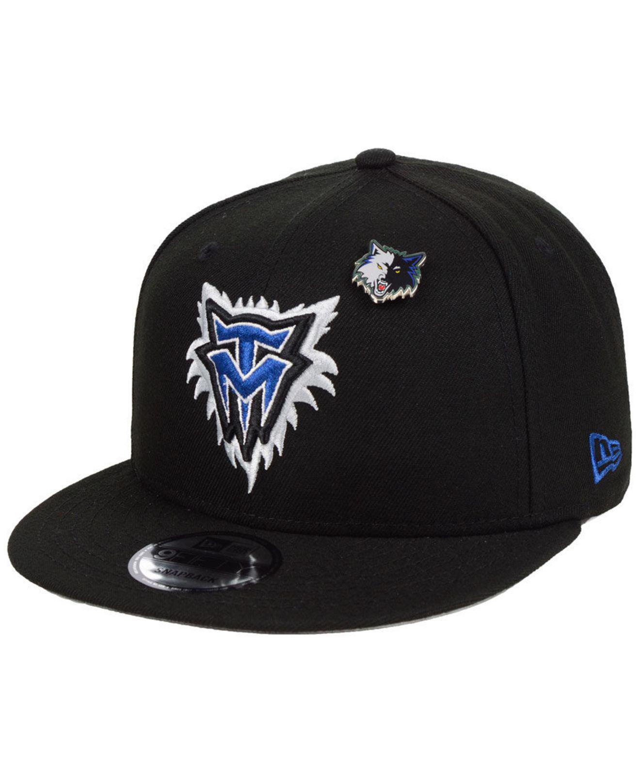 KTZ. Men s Black Minnesota Timberwolves Hardwood Classic Nights Pin 9fifty  Snapback Cap c9e8d6812