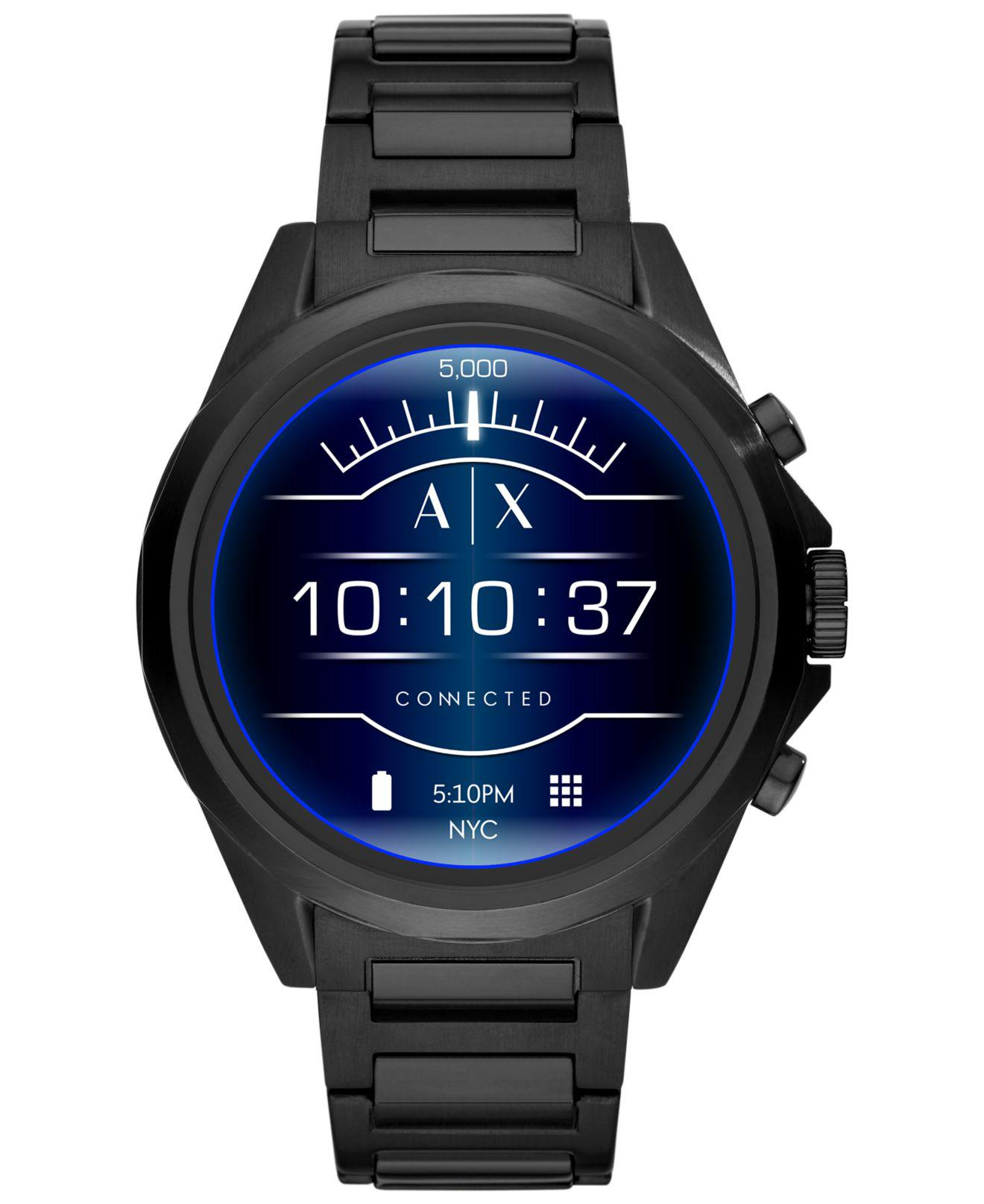40854b7517d Armani Exchange. Men s Connected Black Stainless Steel Bracelet Touchscreen  ...