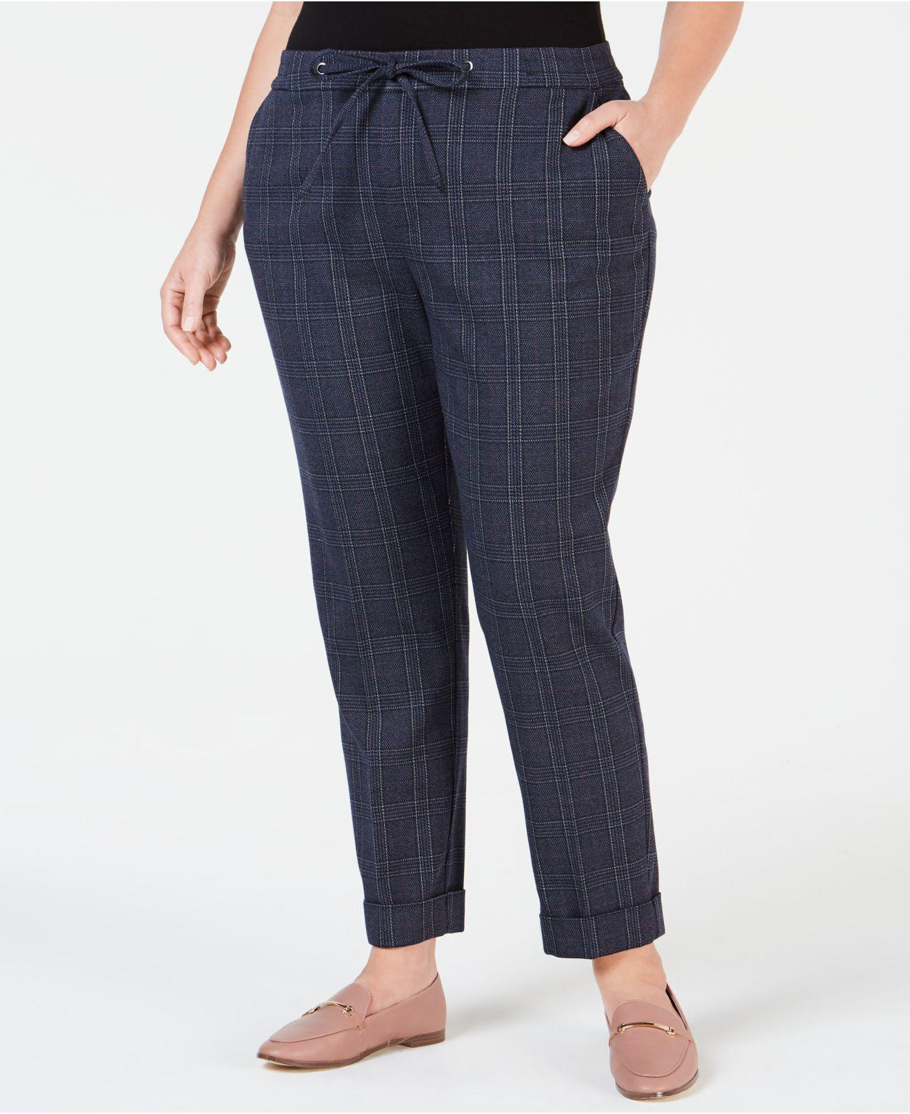 2df5af25d9cab Lyst - Charter Club Plus Size Plaid Slim-leg Pants