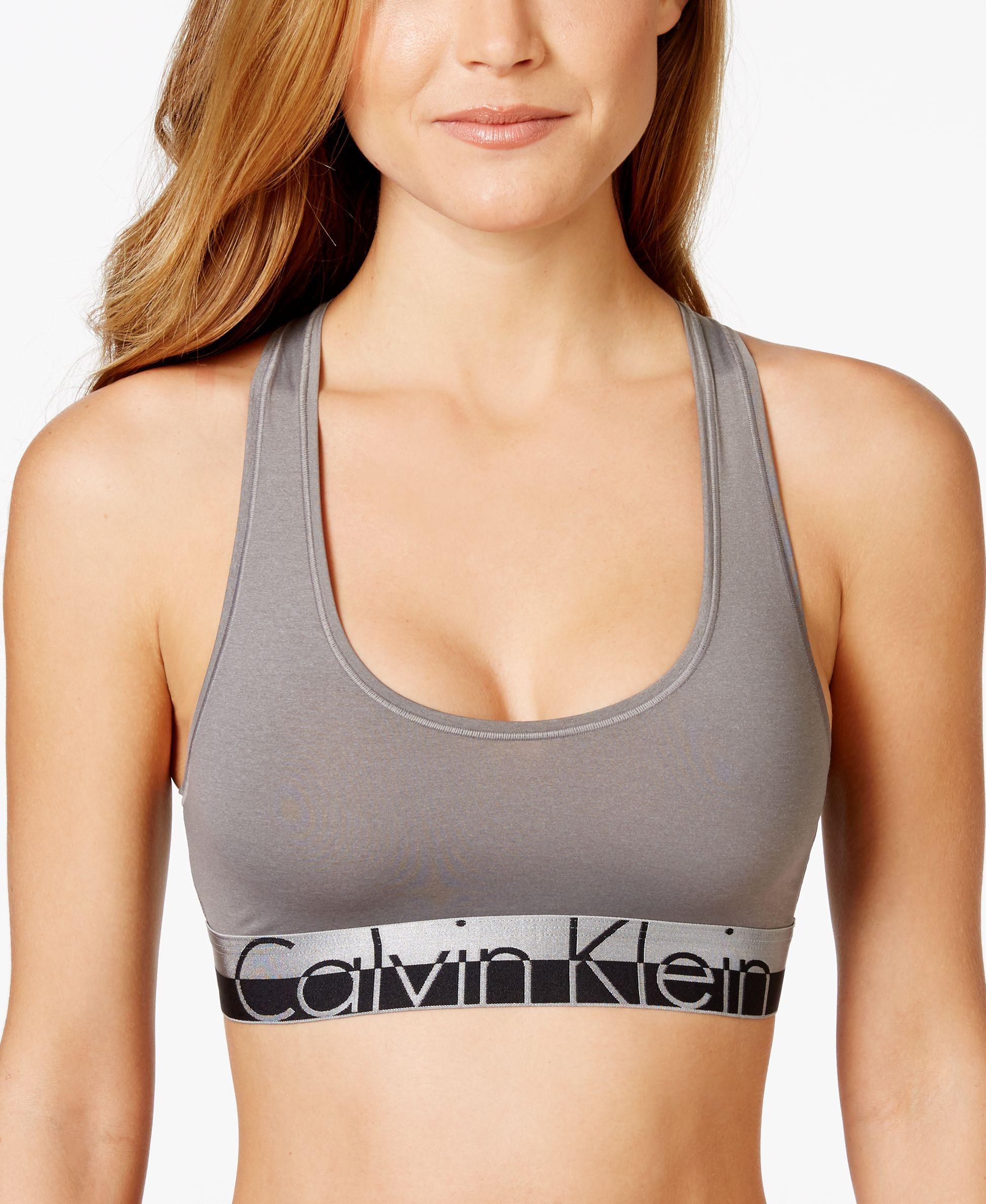 calvin klein magnetic logo bralette qf1335 in gray lyst. Black Bedroom Furniture Sets. Home Design Ideas