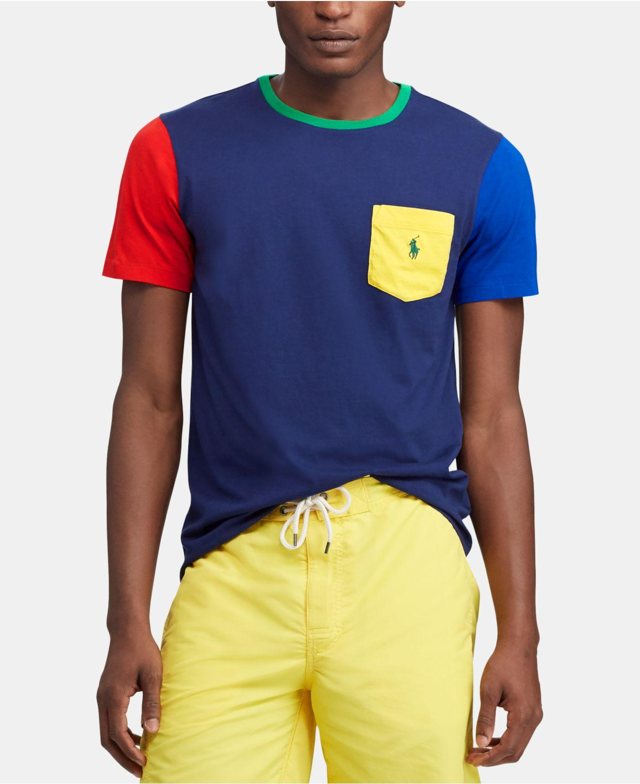 b48510e47 Lyst - Polo Ralph Lauren Colorblocked T-shirt in Blue for Men - Save 41%