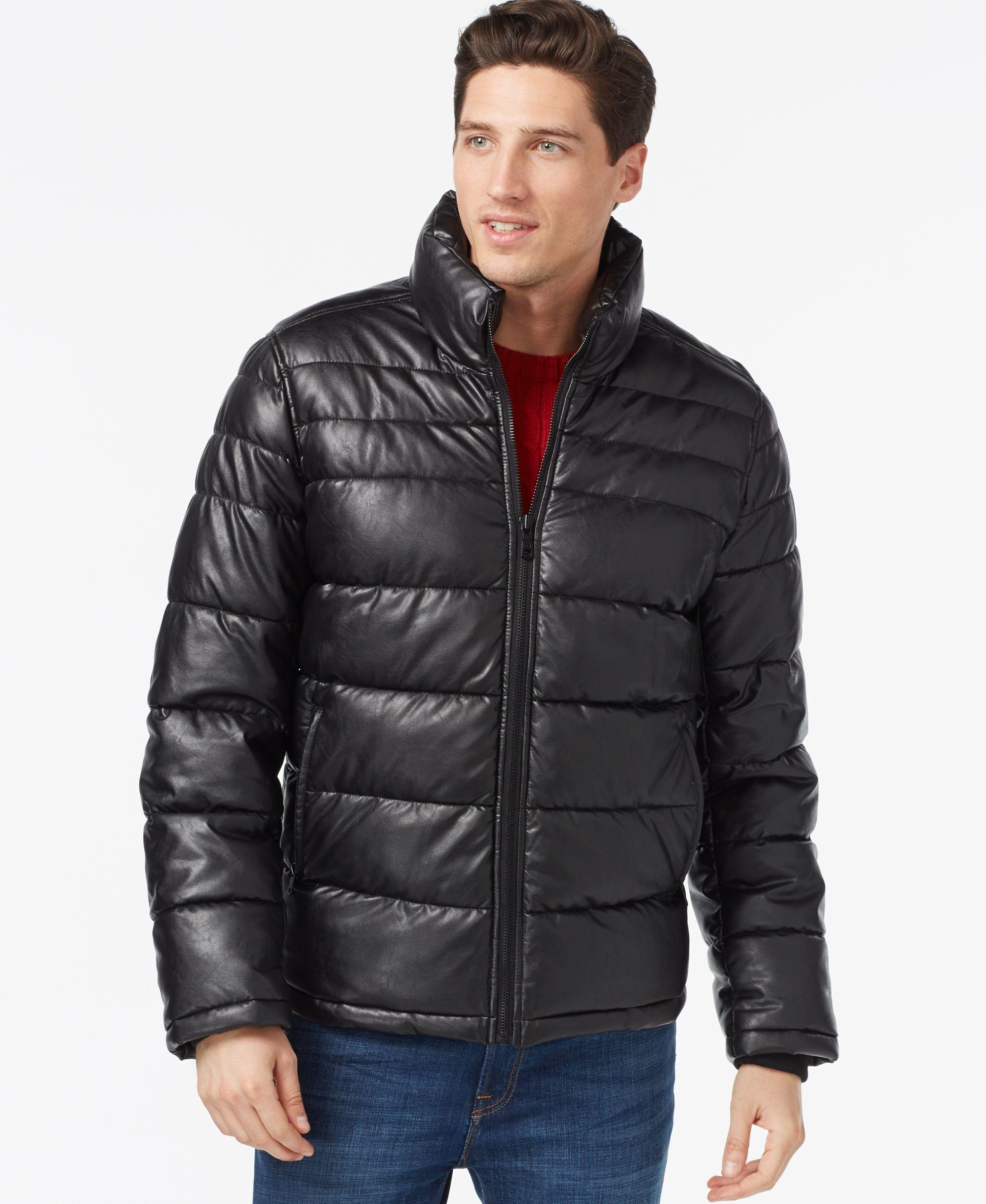 tommy hilfiger faux leather quilted jacket in black for men lyst. Black Bedroom Furniture Sets. Home Design Ideas