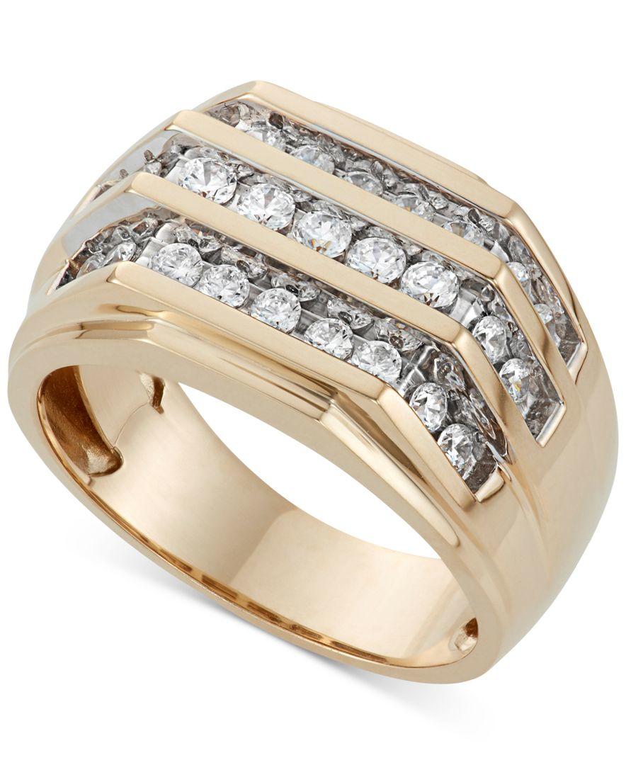 Macy s Men s Three Row Diamond Ring 1 Ct T w In 10k Gold in Metal