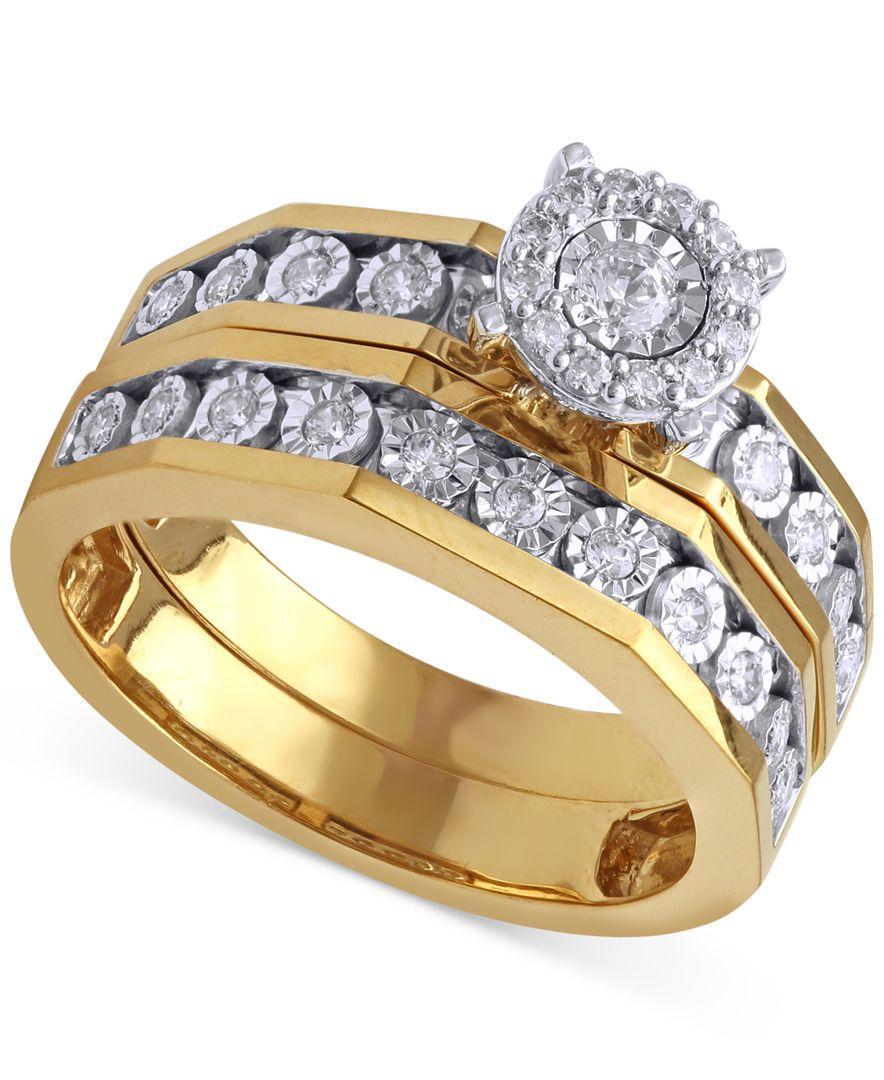 Lyst Beautiful Beginnings Diamond Engagement Ring And Wedding Band