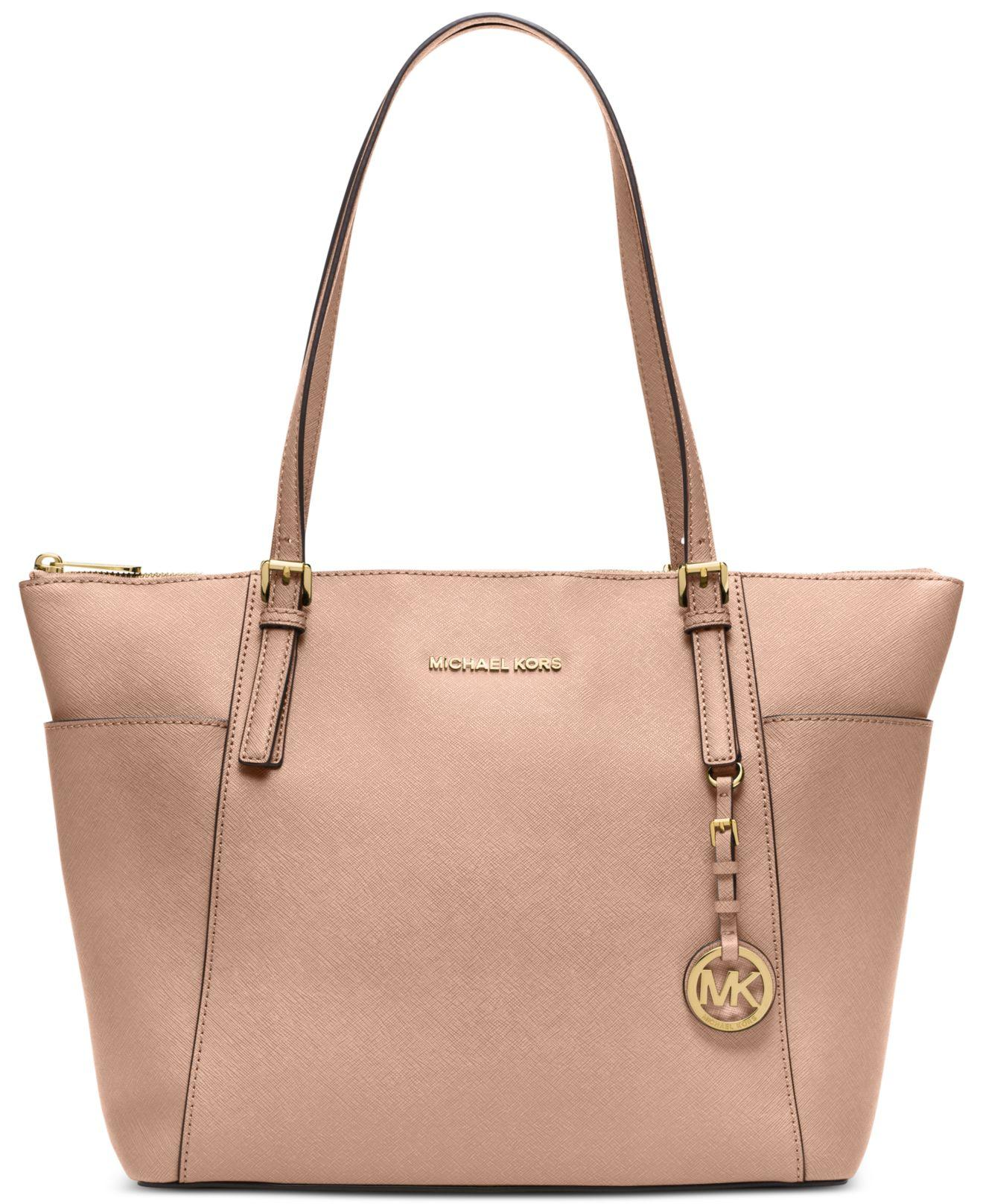 michael kors jet set item large east west top zip tote in pink lyst. Black Bedroom Furniture Sets. Home Design Ideas