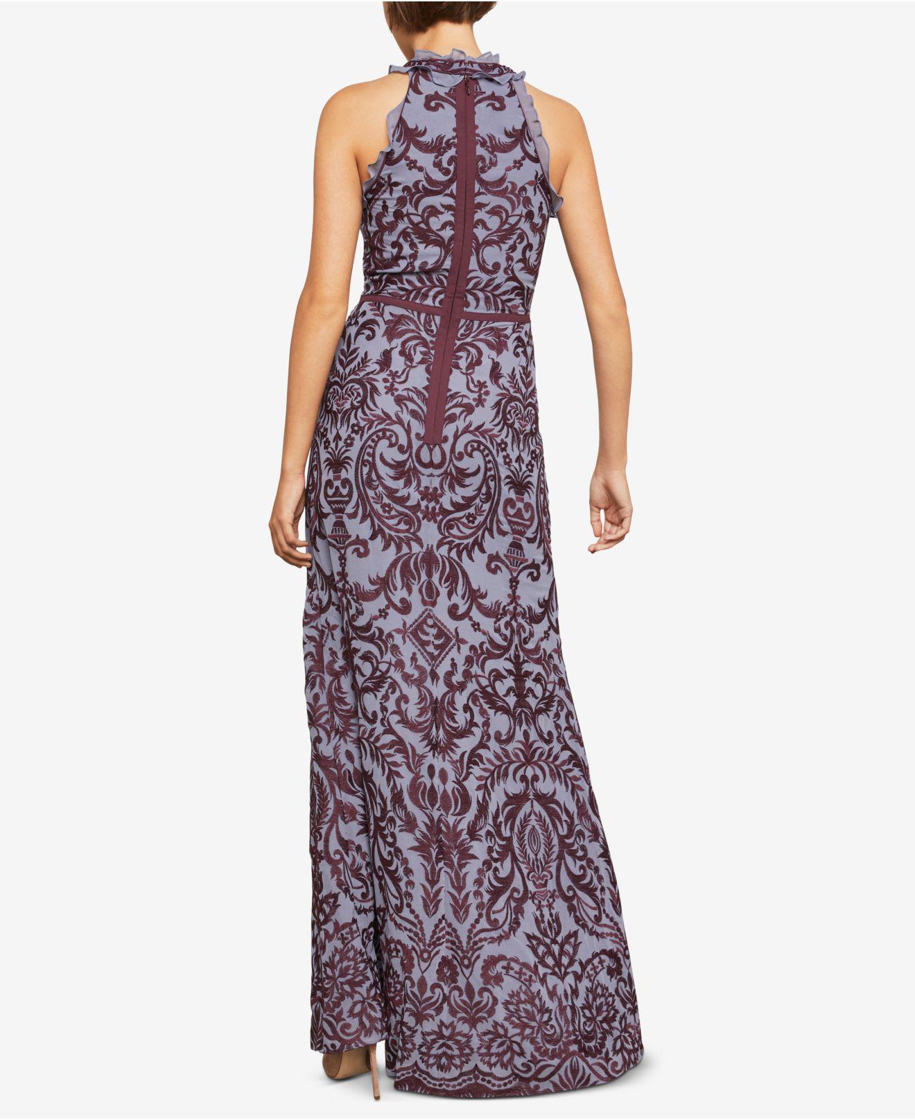502ba061ed66 Lyst - BCBGMAXAZRIA Embroidered Chiffon Halter Gown in Purple