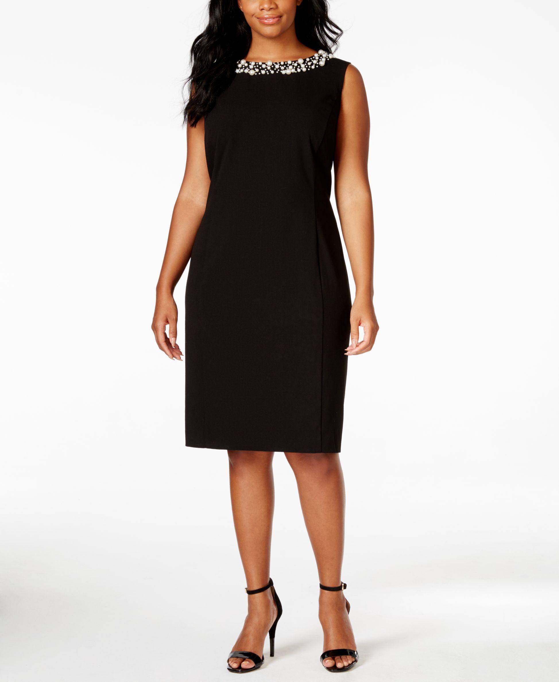 Calvin klein plus size embellished sheath dress in black for Macy black dress wear to wedding
