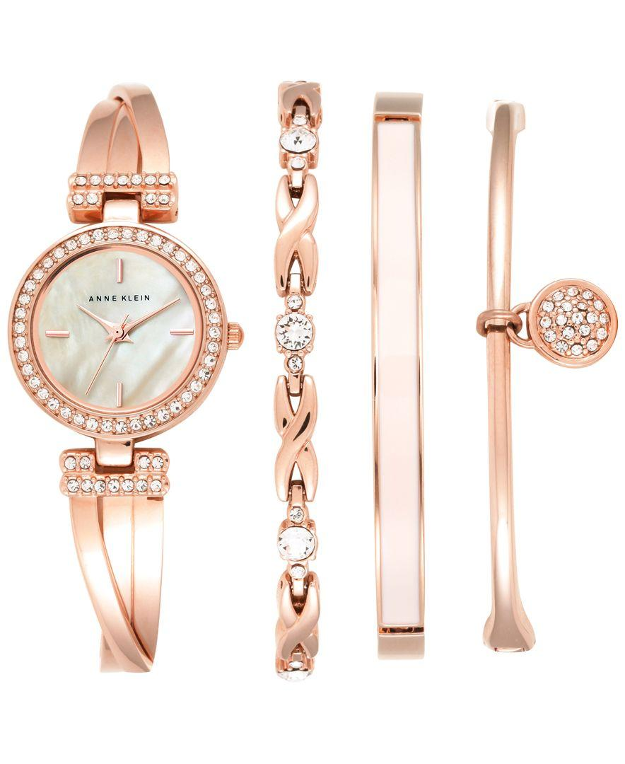 Lyst anne klein women 39 s crystal accent rose gold tone stainless steel bangle bracelet watch for Anne klein rose gold watch set
