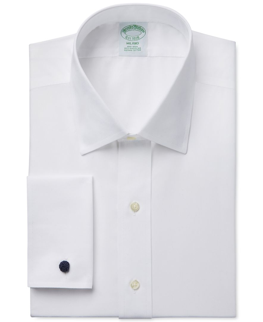 Brooks brothers milano extra slim fit non iron white solid for Dress shirt no pocket